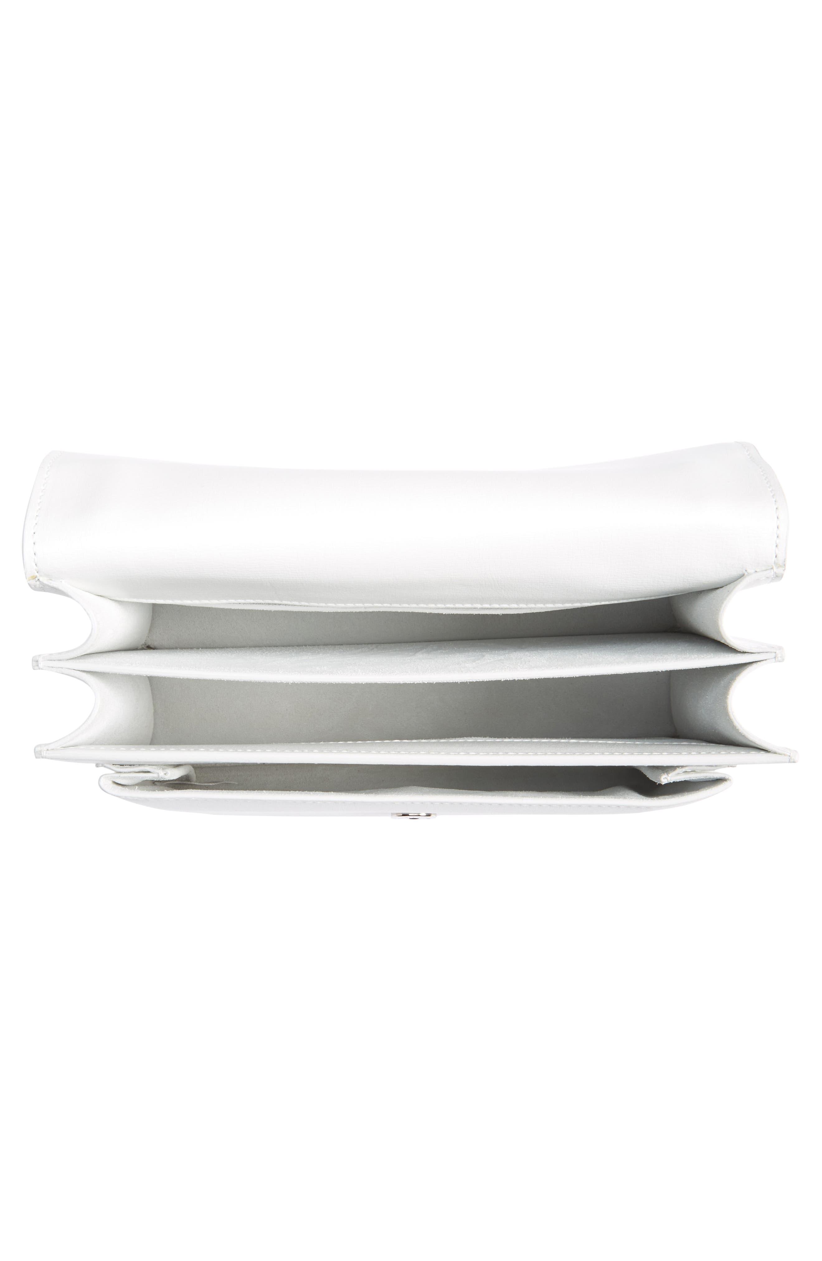 Medium Sunset Calfskin Shoulder Bag,                             Alternate thumbnail 3, color,                             Optic White