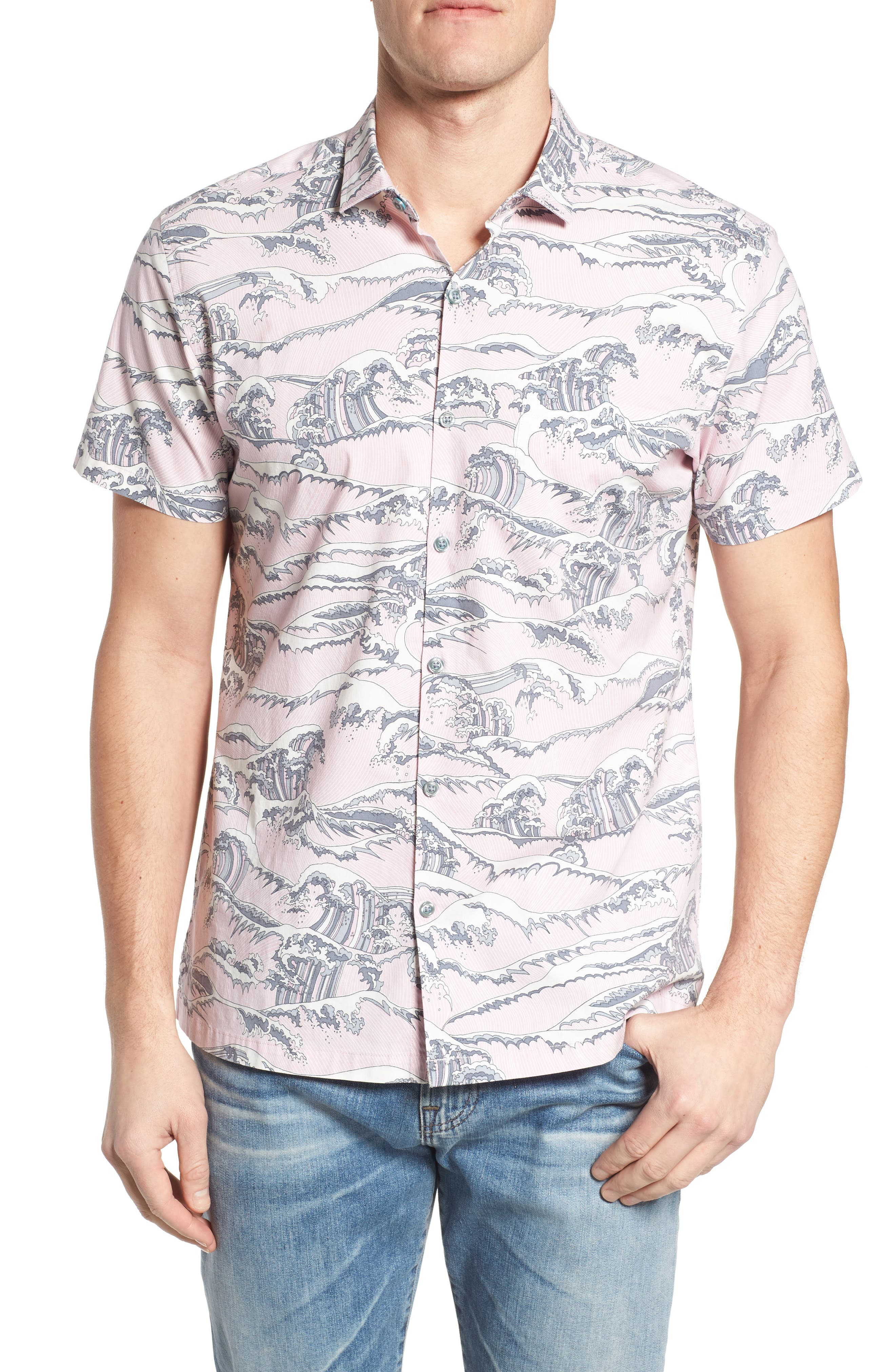 Overboard Trim Fit Print Sport Shirt,                             Main thumbnail 1, color,                             Pink