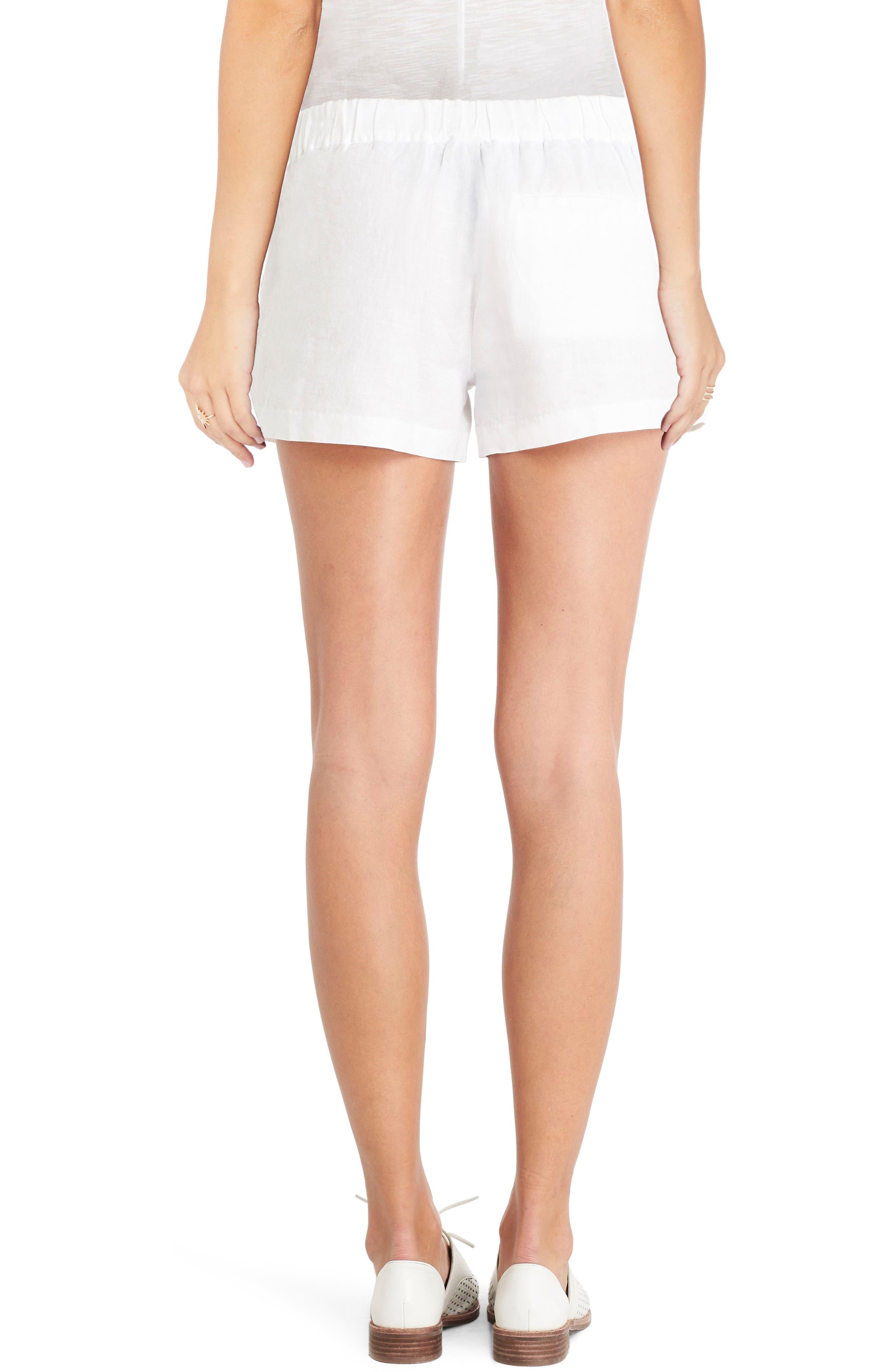 Linen Shorts,                             Alternate thumbnail 2, color,                             White