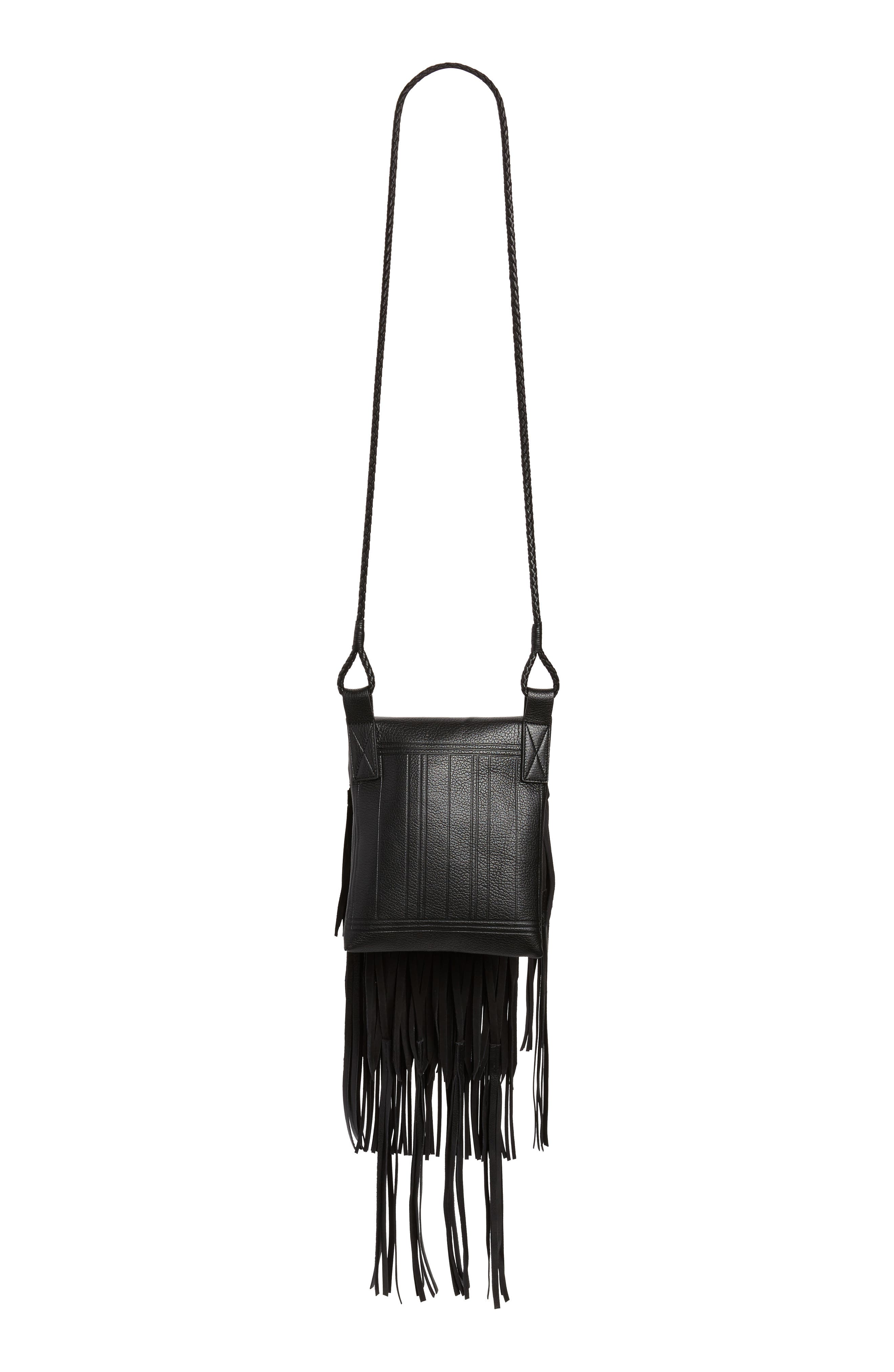 Saharienne Fringe Leather Crossbody Bag,                             Alternate thumbnail 3, color,                             Noir