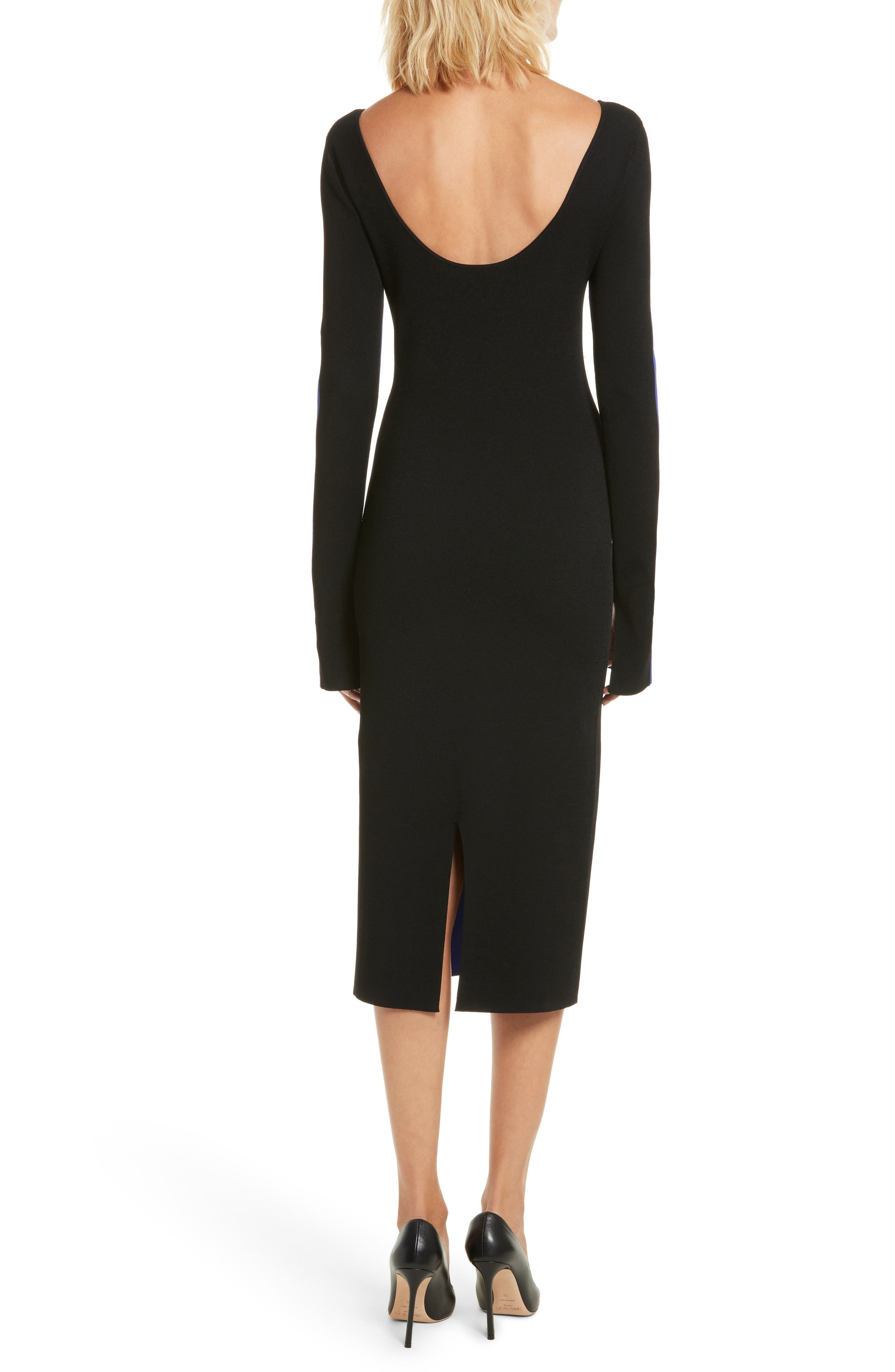 Colorblock Knit Body-Con Dress,                             Alternate thumbnail 2, color,                             Electric Blue/ Black