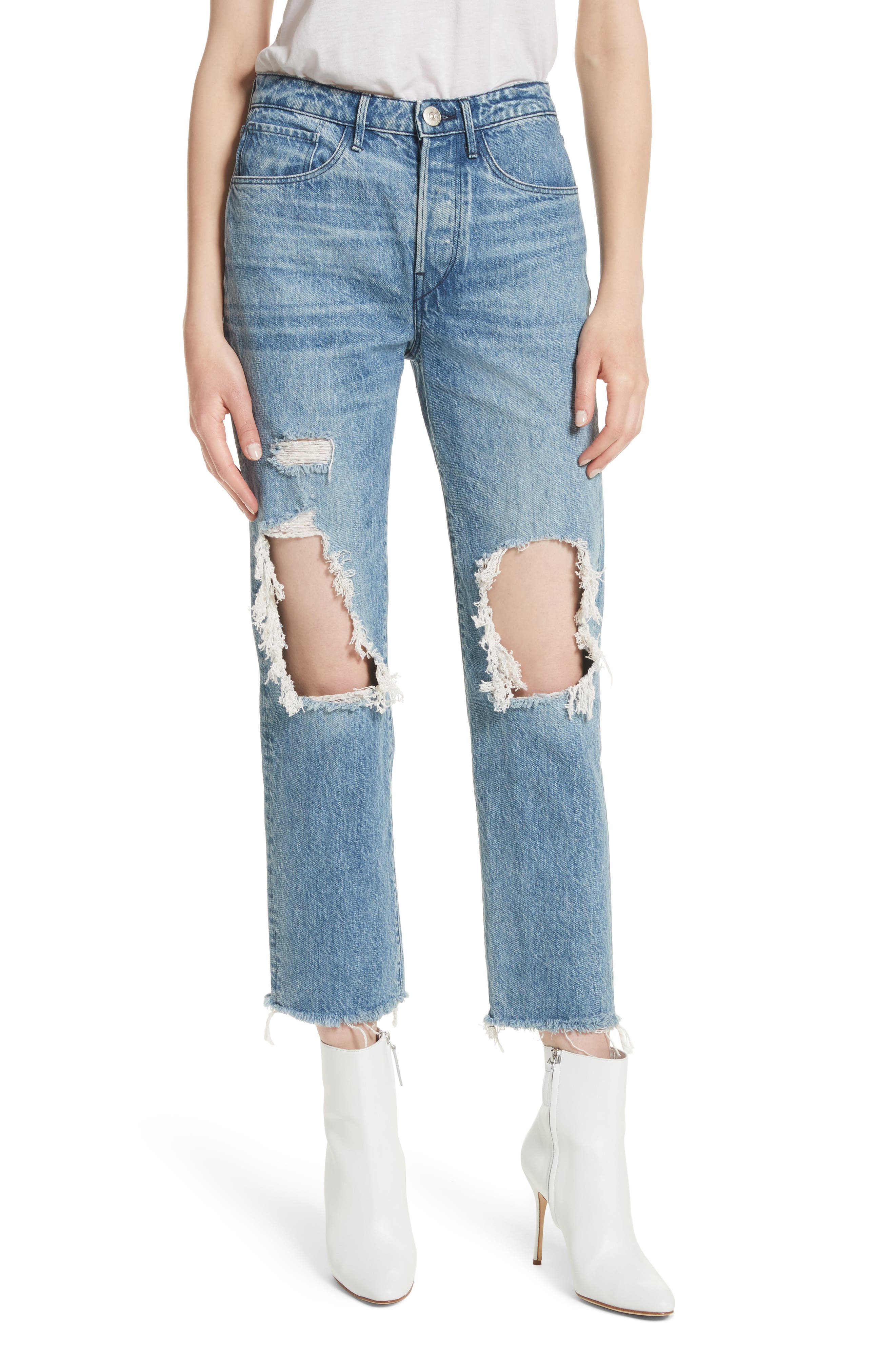 3x1 NYC W3 Higher Ground Ripped Crop Boyfriend Jeans (Clutch)