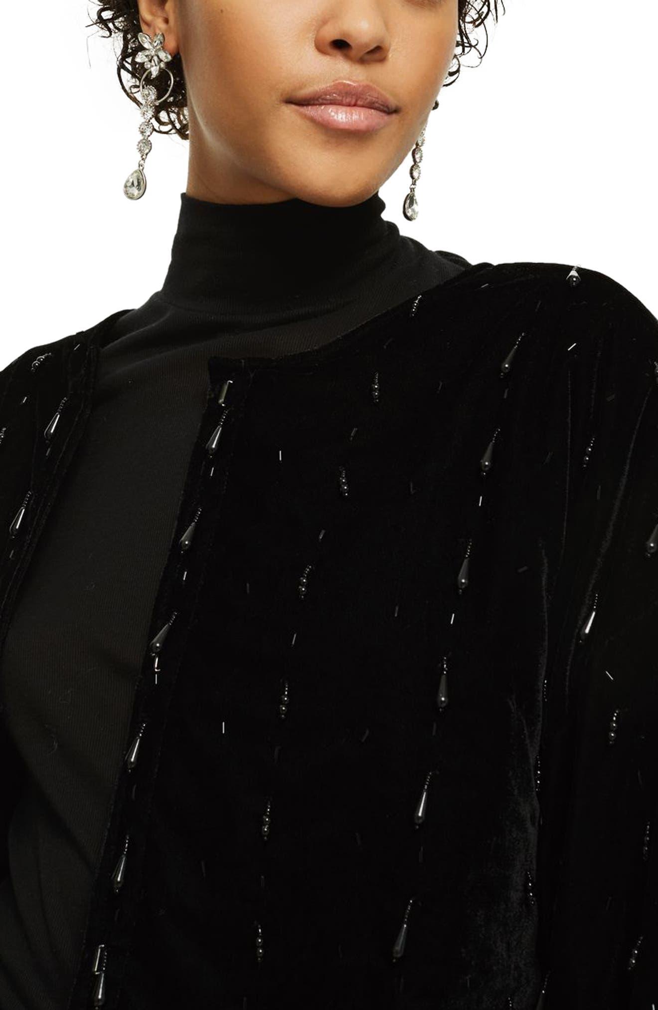 Noelle Beaded Velvet Kimono,                             Alternate thumbnail 4, color,                             Black