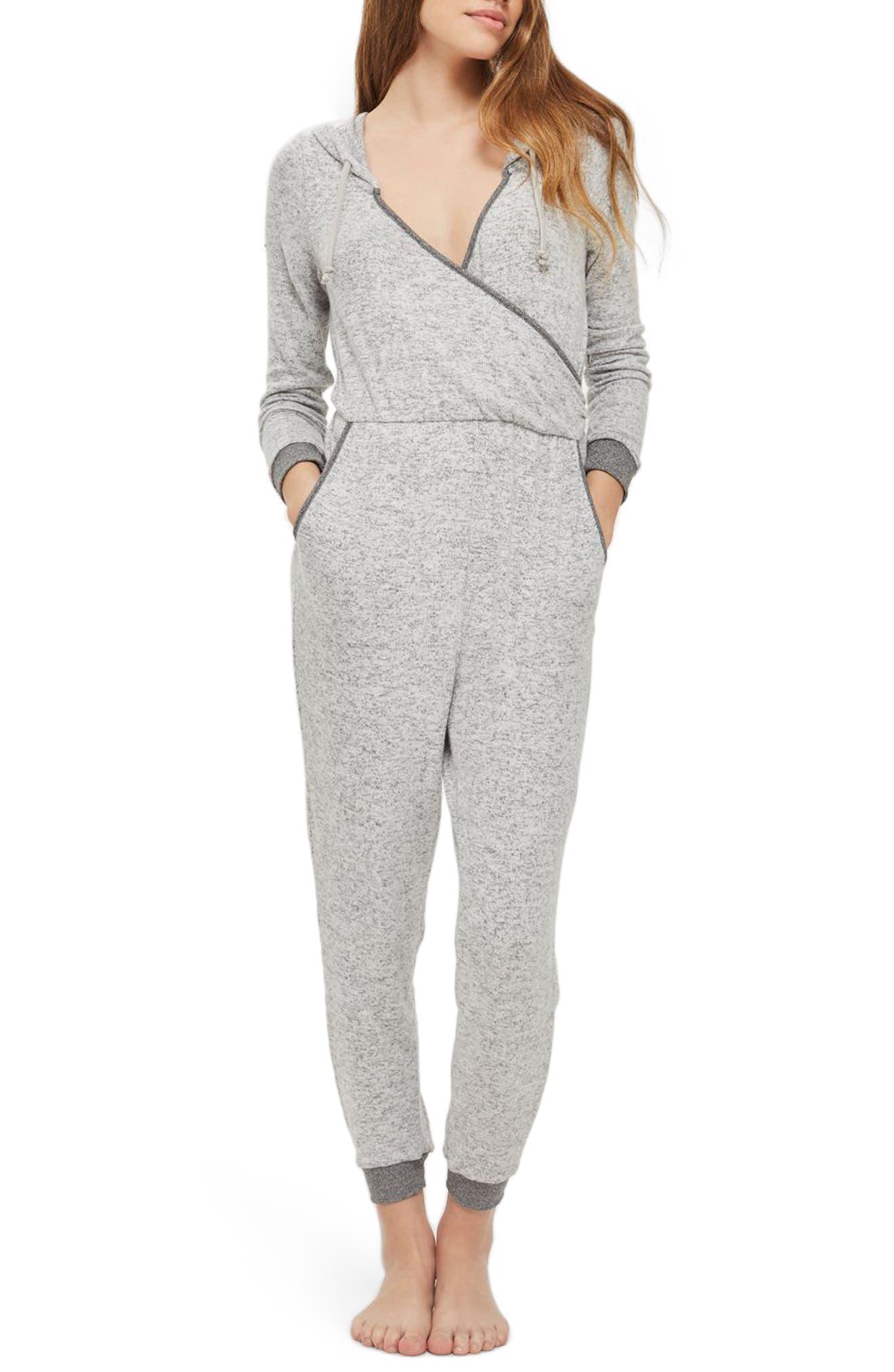 Main Image - Topshop Hooded Faux Wrap Jumpsuit
