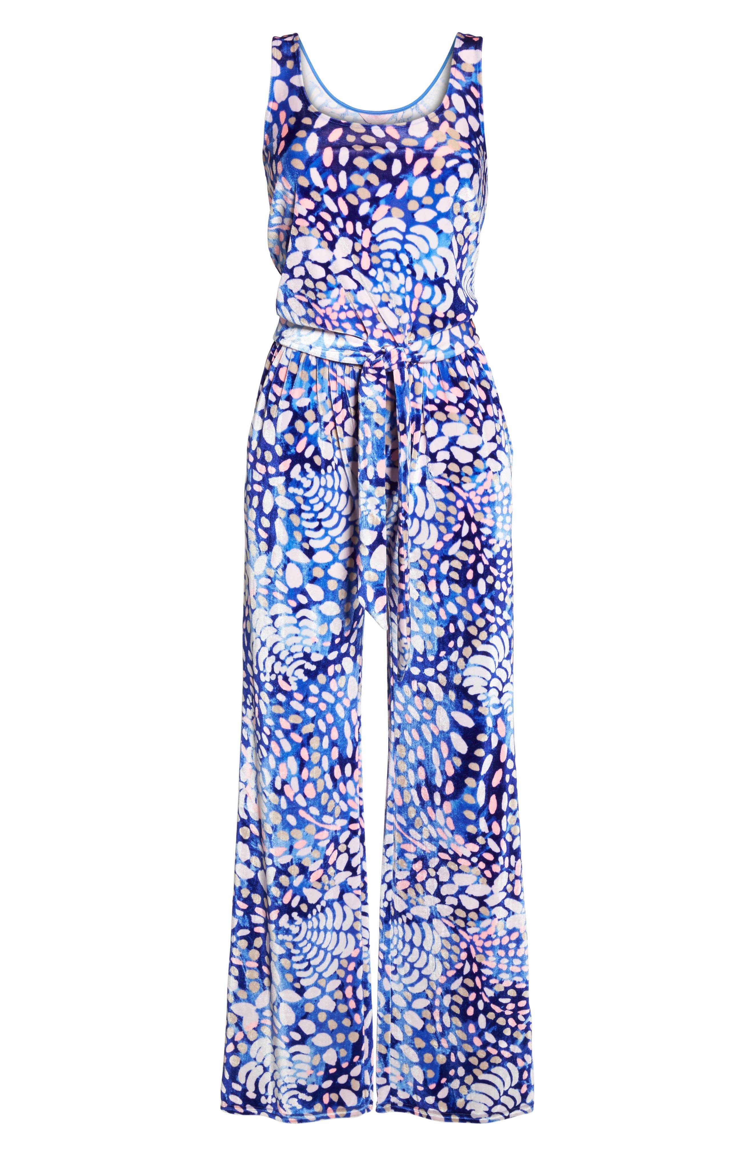 Nena Velour Jumpsuit,                             Alternate thumbnail 6, color,                             Beckon Blue Sparkling Grotto