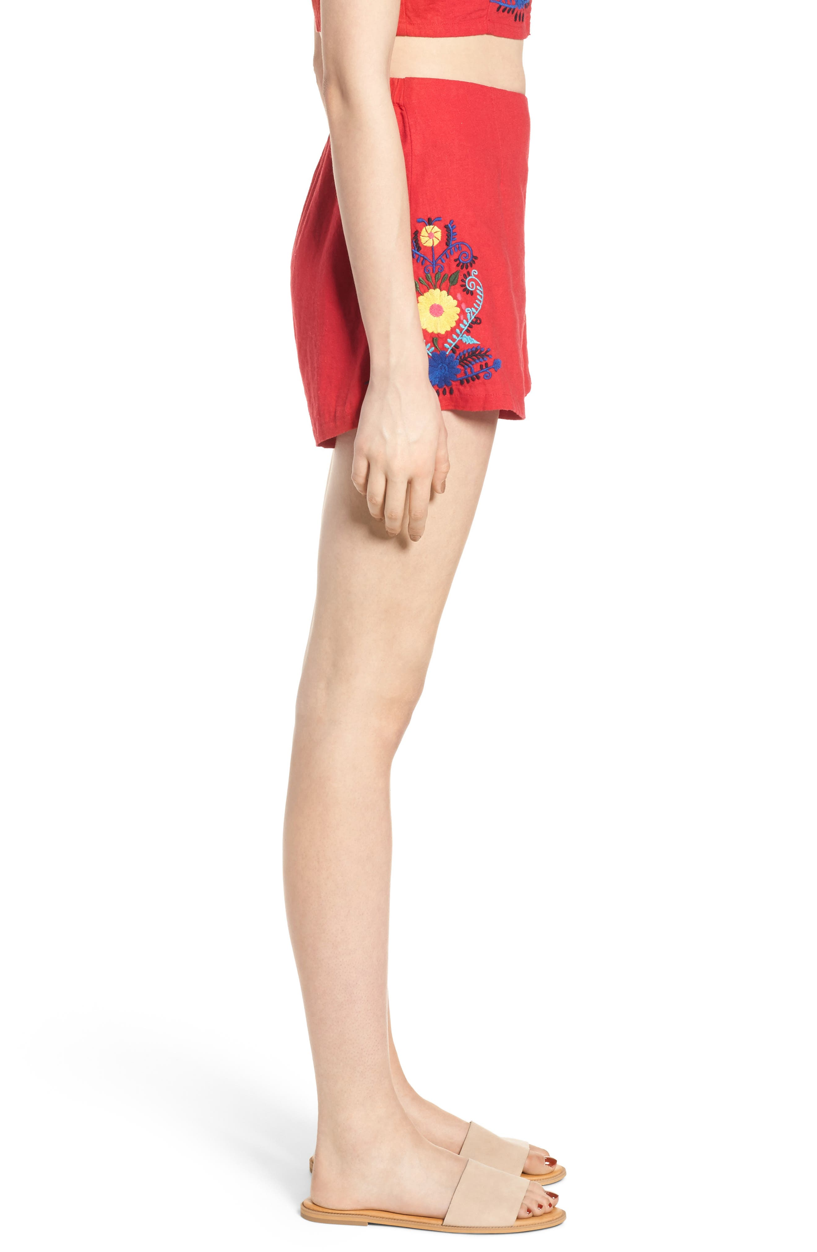 Embroidered Linen Blend Shorts,                             Alternate thumbnail 4, color,                             Red Lipstick