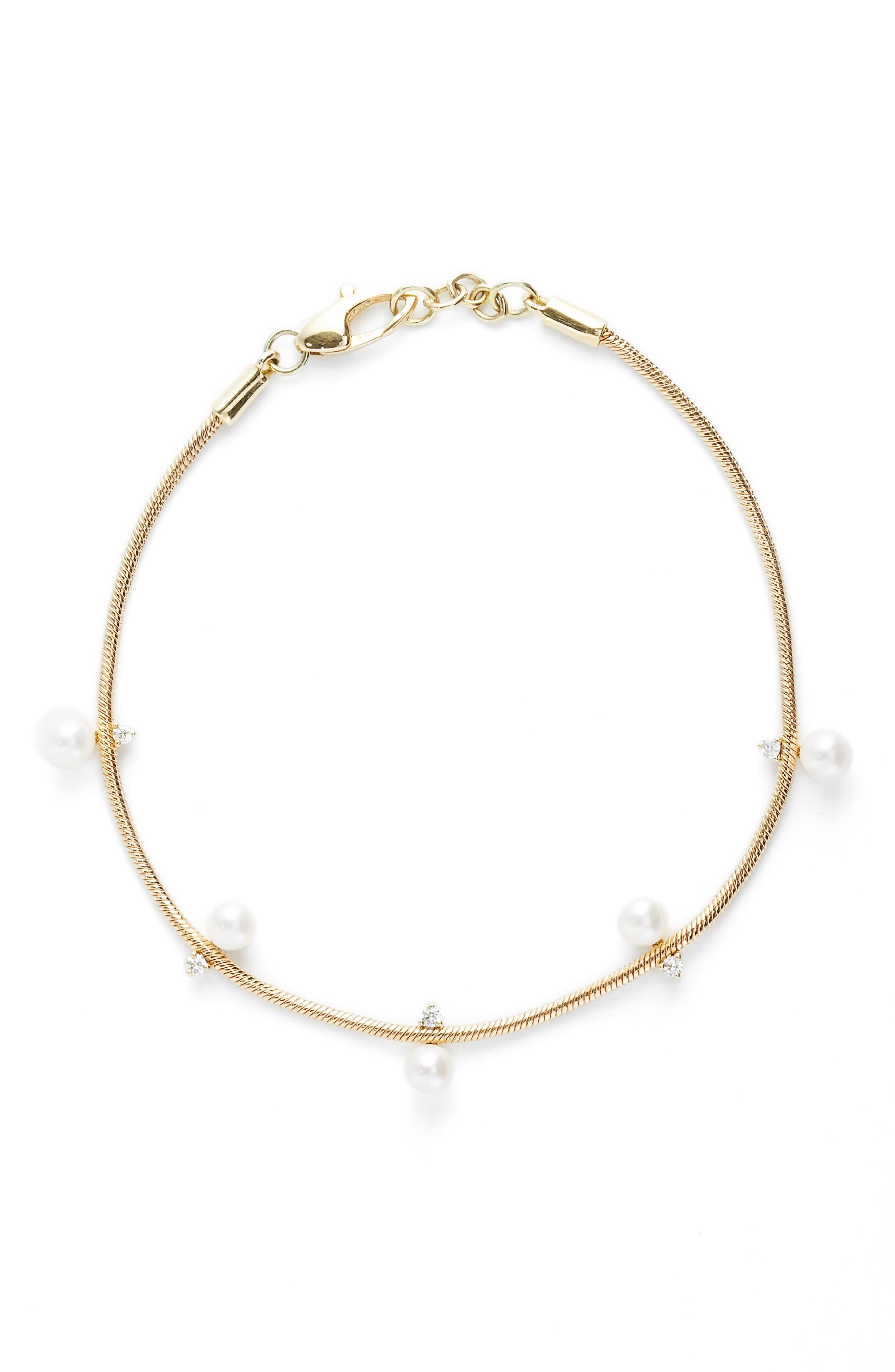 Jemma Wynne Revival Diamond & Freshwater Pearl Snake Chain Bracelet