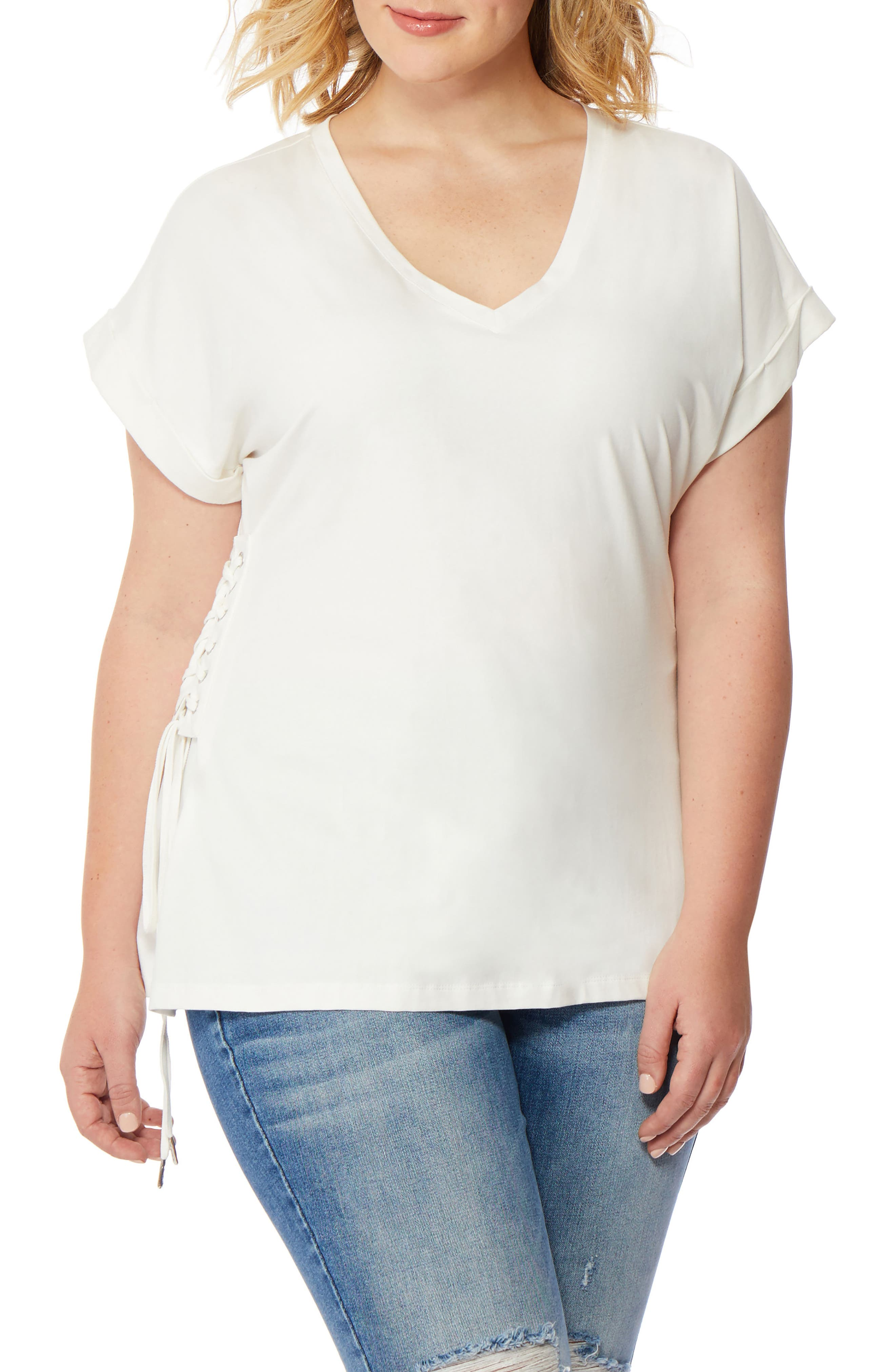 V-Neck Lace-Up Tee,                             Main thumbnail 1, color,                             White
