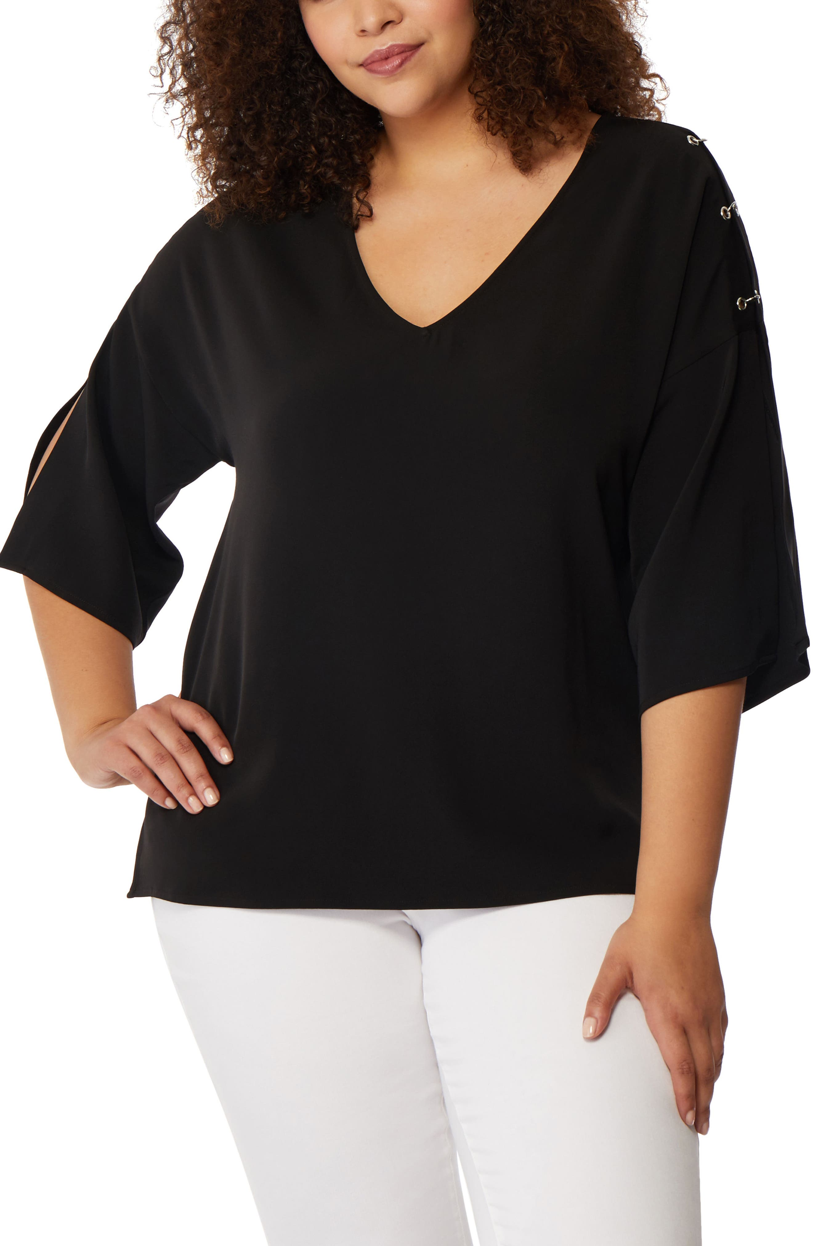 Pierced Split Sleeve Blouse,                         Main,                         color, Black