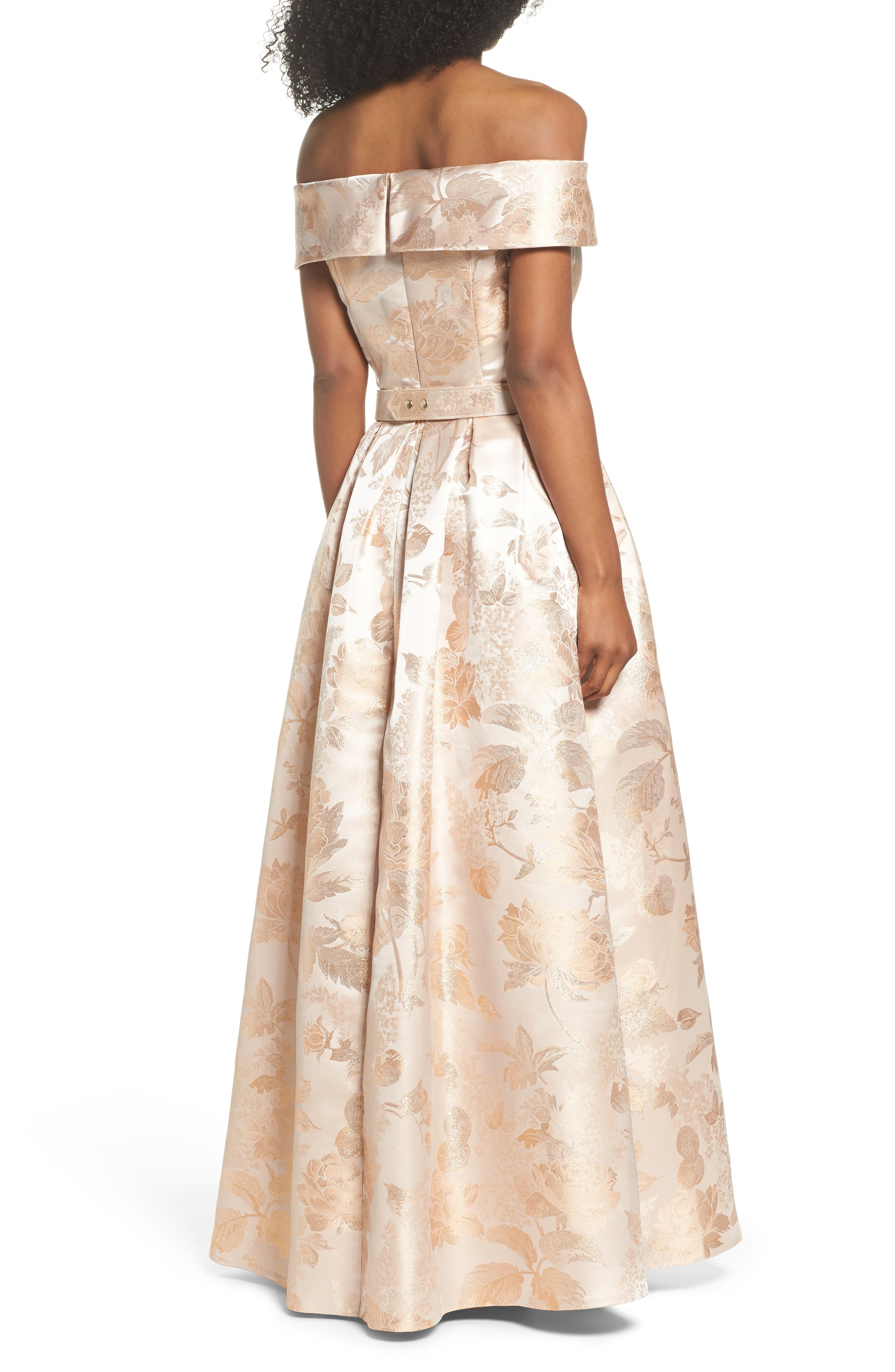 Belted Off the Shoulder Jacquard Ballgown,                             Alternate thumbnail 2, color,                             Champagne