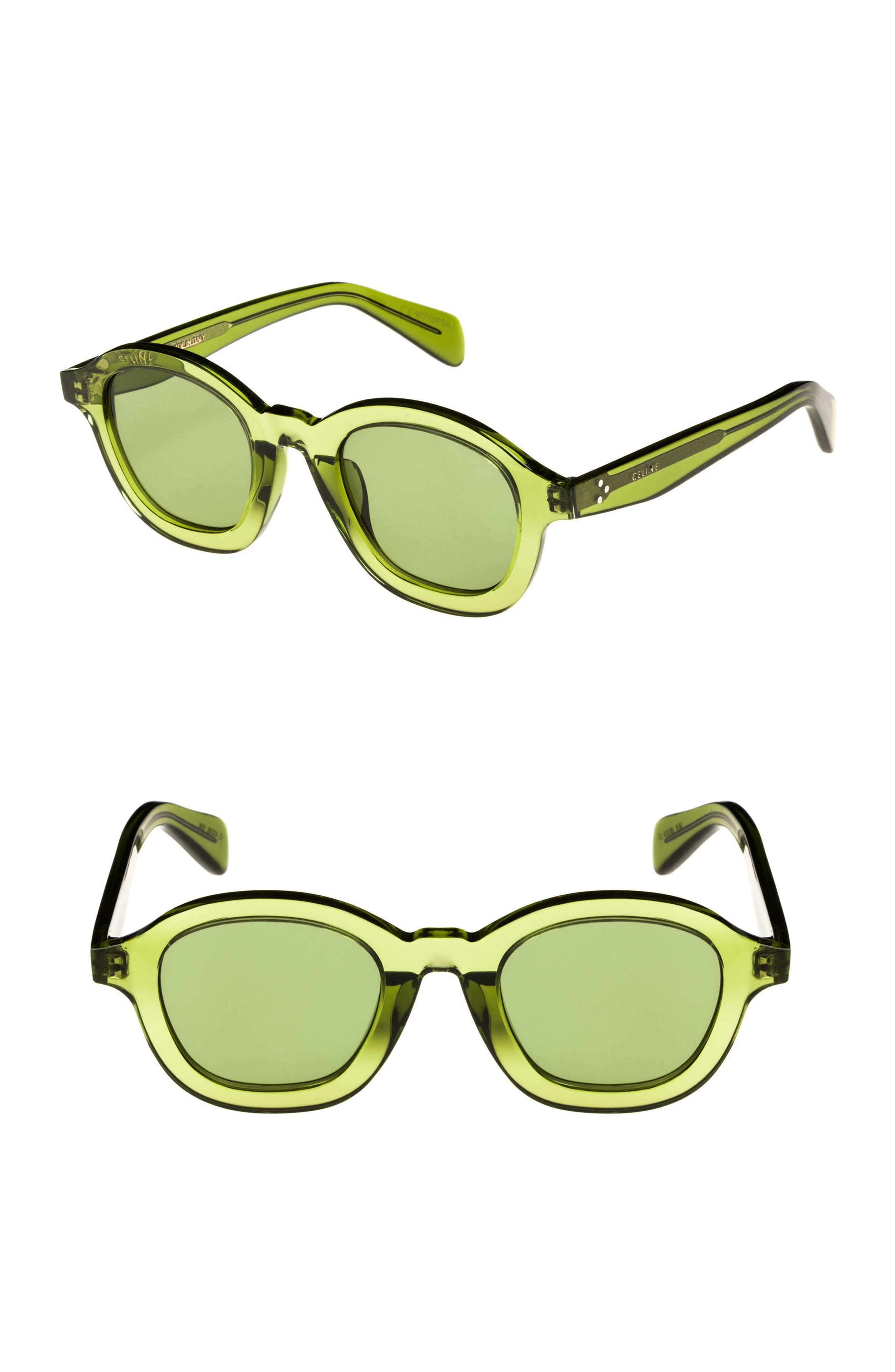 47mm Round Sunglasses,                         Main,                         color, Green
