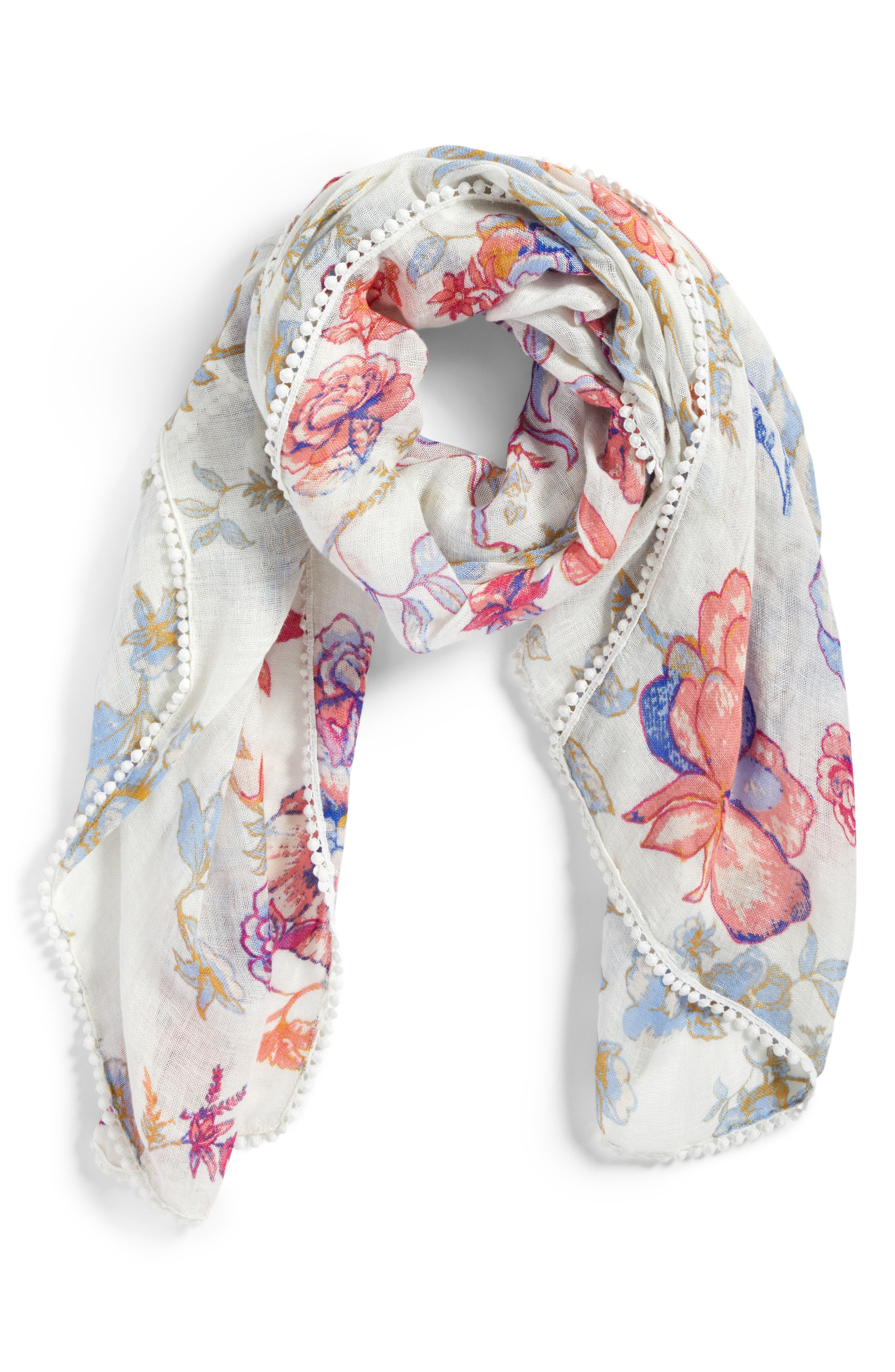 Print Scarf,                             Alternate thumbnail 2, color,                             White Lace Work