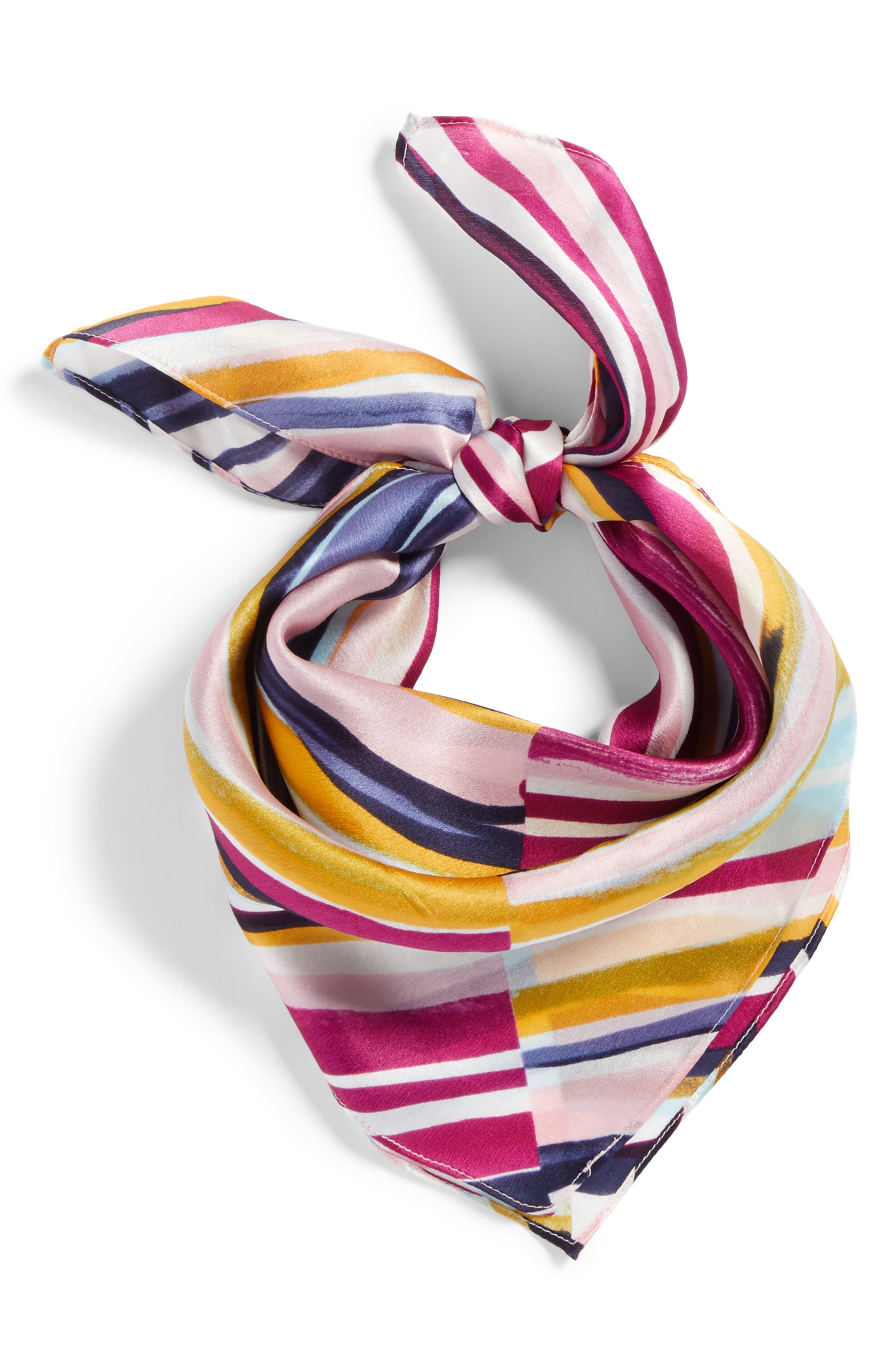 Print Silk Scarf,                             Alternate thumbnail 2, color,                             Purple Marker Mix Stripe Print
