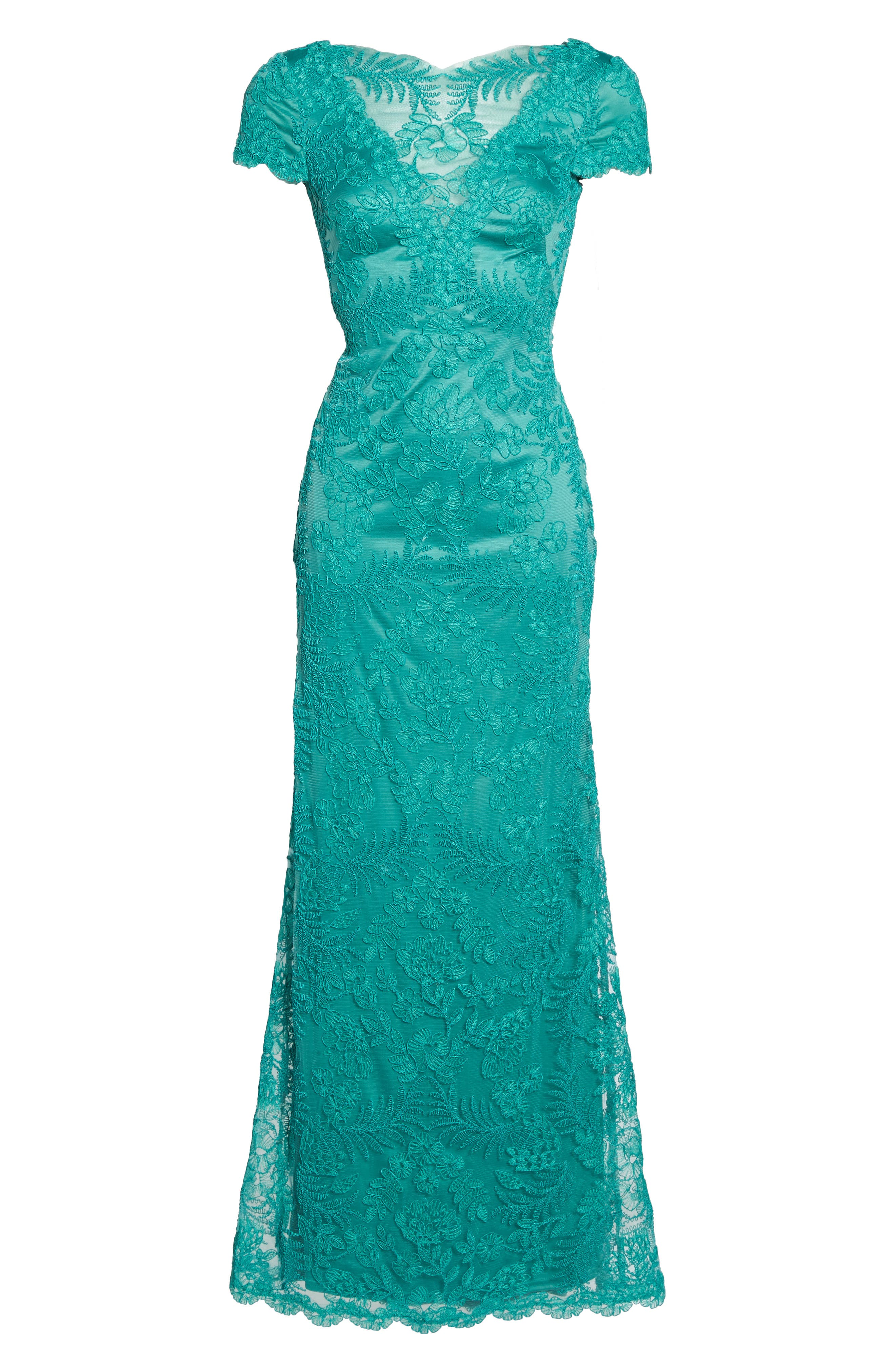 Embroidered Gown,                             Alternate thumbnail 6, color,                             Cool Aqua