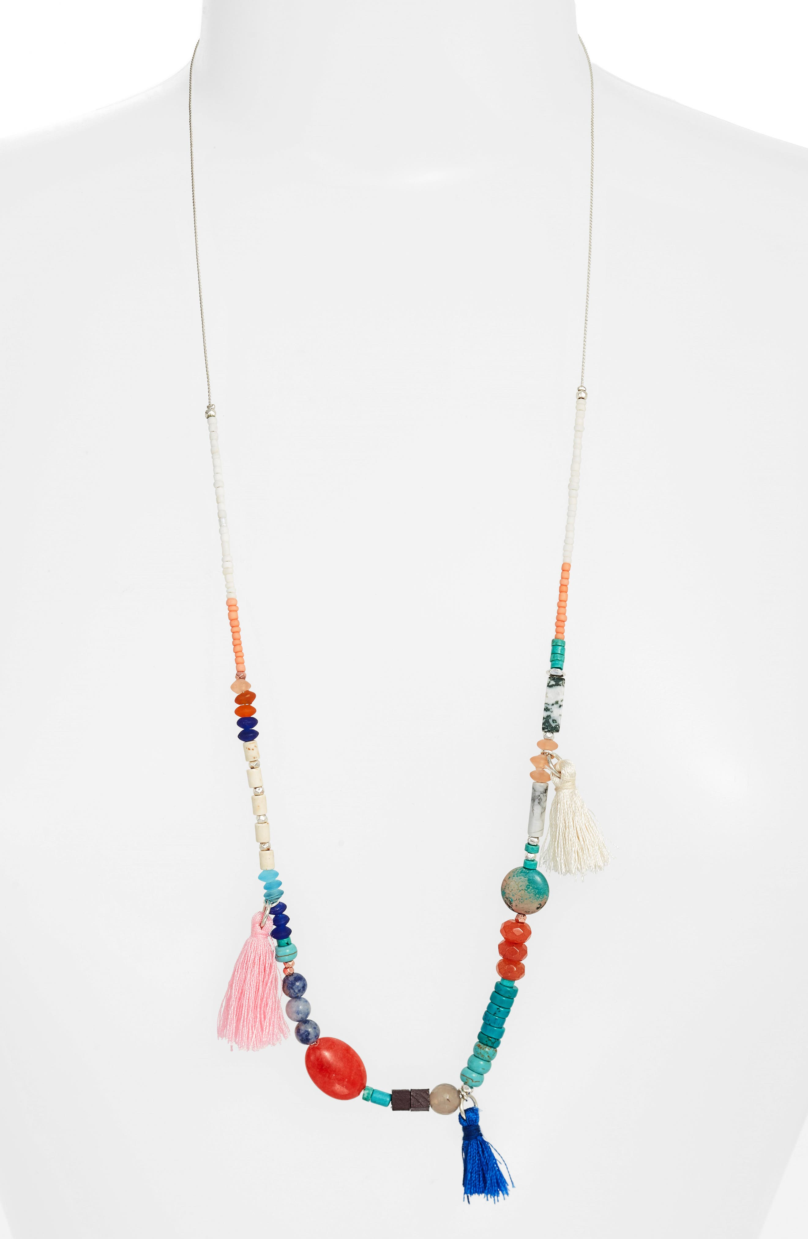 Beaded Necklace,                         Main,                         color, Turquoise