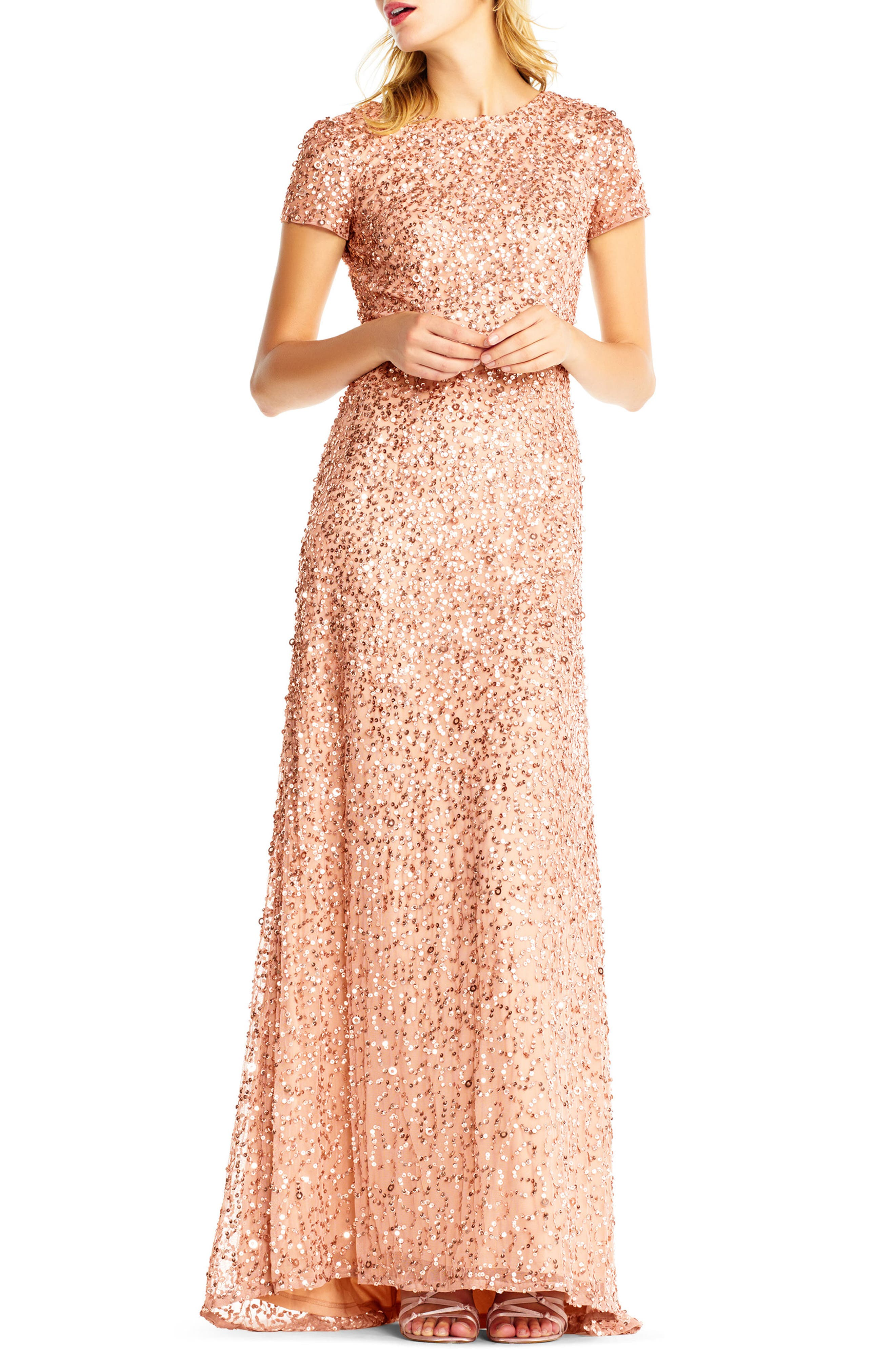 Short Sleeve Sequin Mesh Gown,                         Main,                         color, Rose Gold