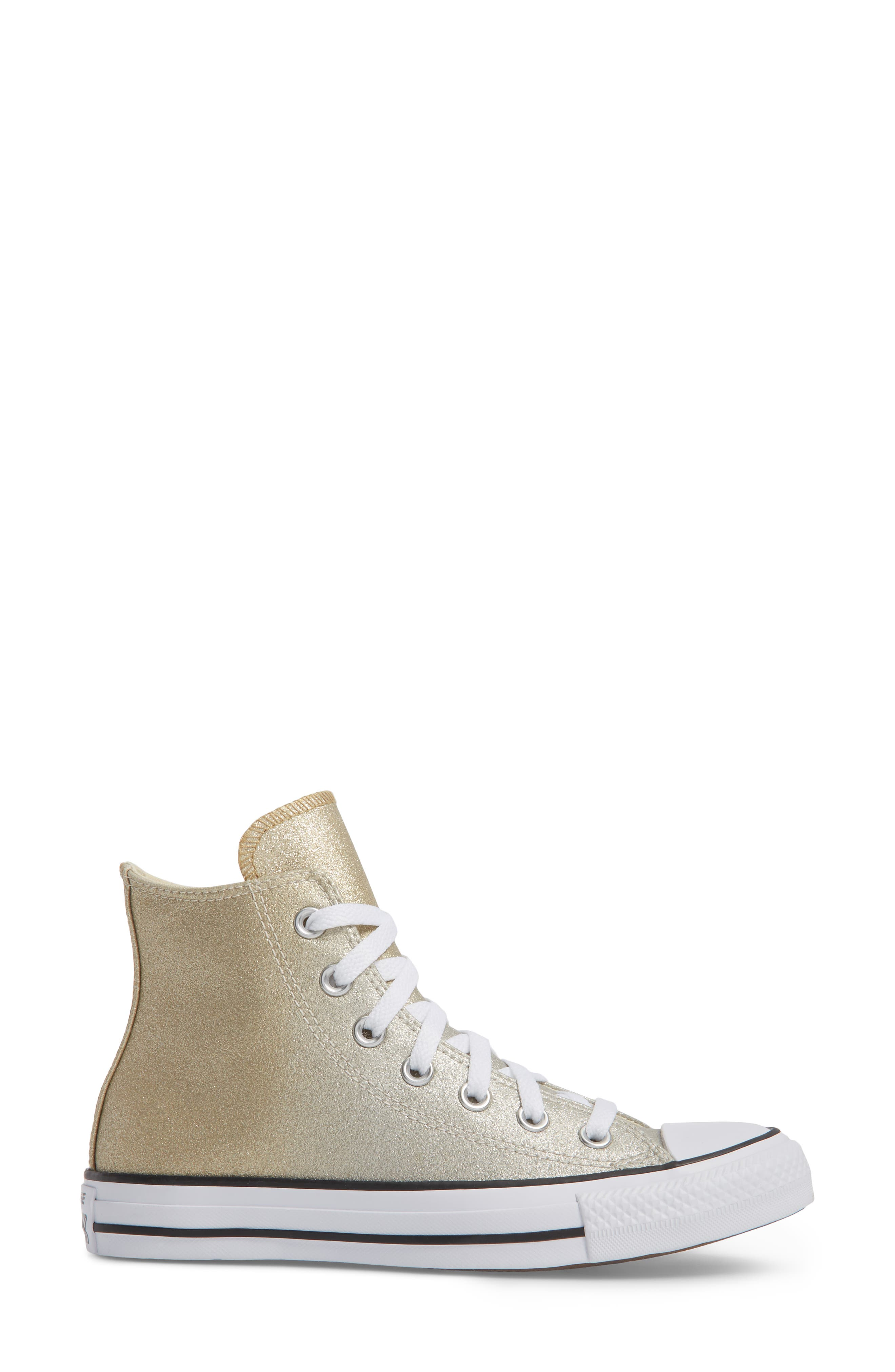 Chuck Taylor<sup>®</sup> All Star<sup>®</sup> Ombré Metallic High Top Sneaker,                             Alternate thumbnail 3, color,                             Light Gold