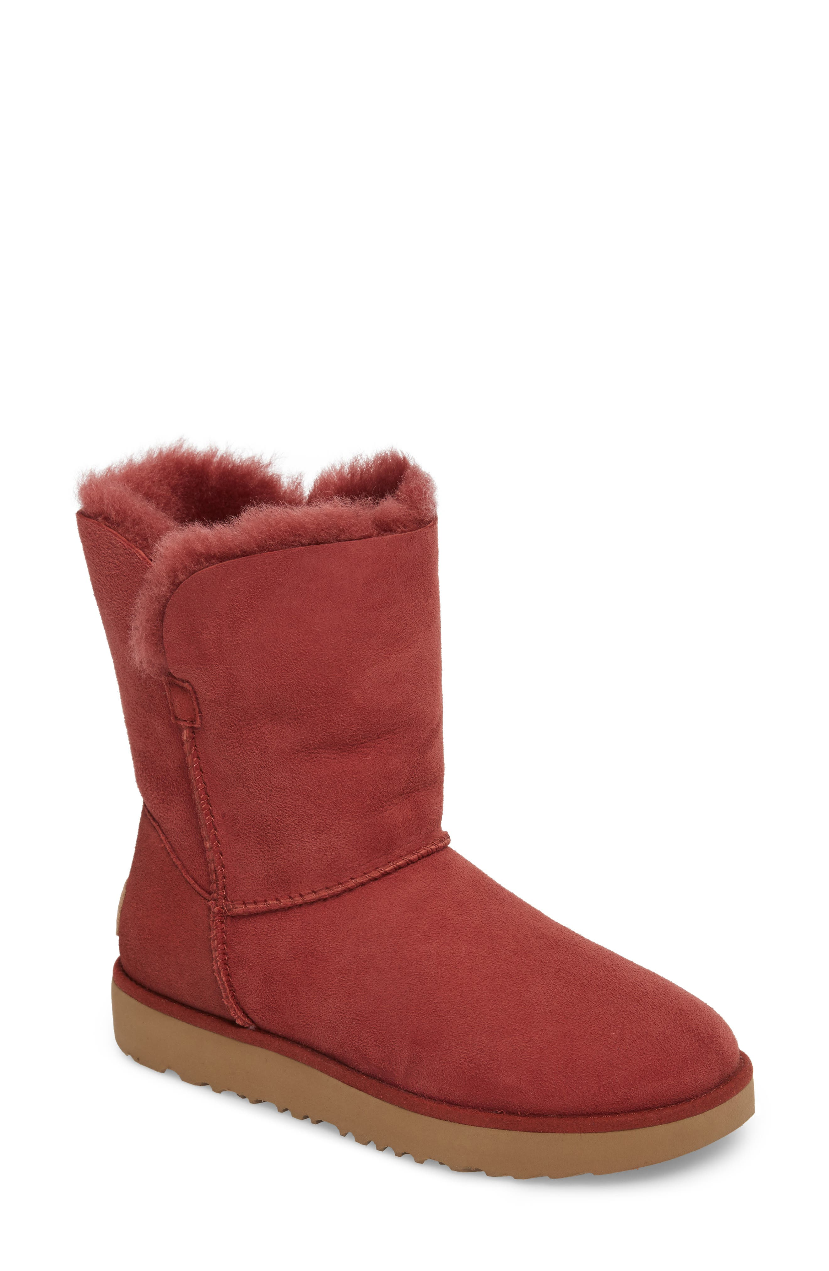Classic Cuff Short Boot,                             Main thumbnail 1, color,                             Red Clay Suede