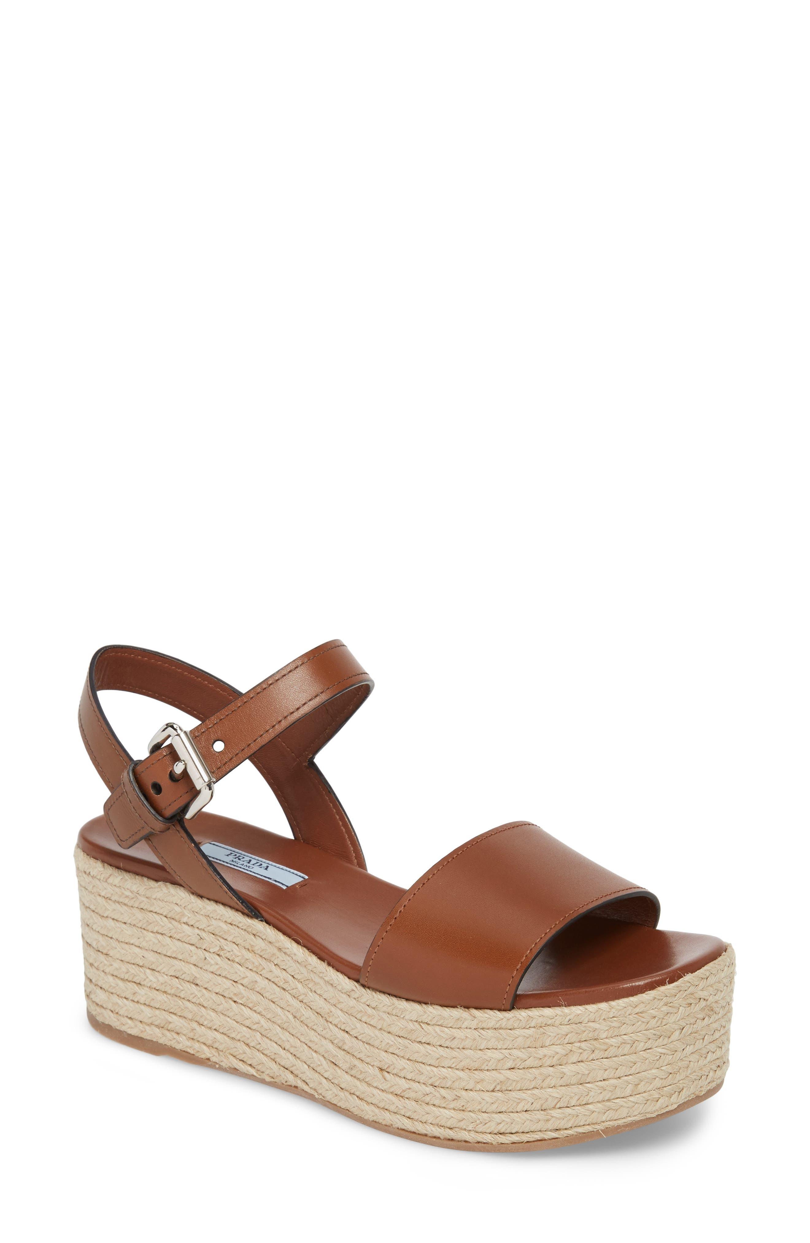Alternate Image 1 Selected - Prada Platform Espadrille Sandal (Women)