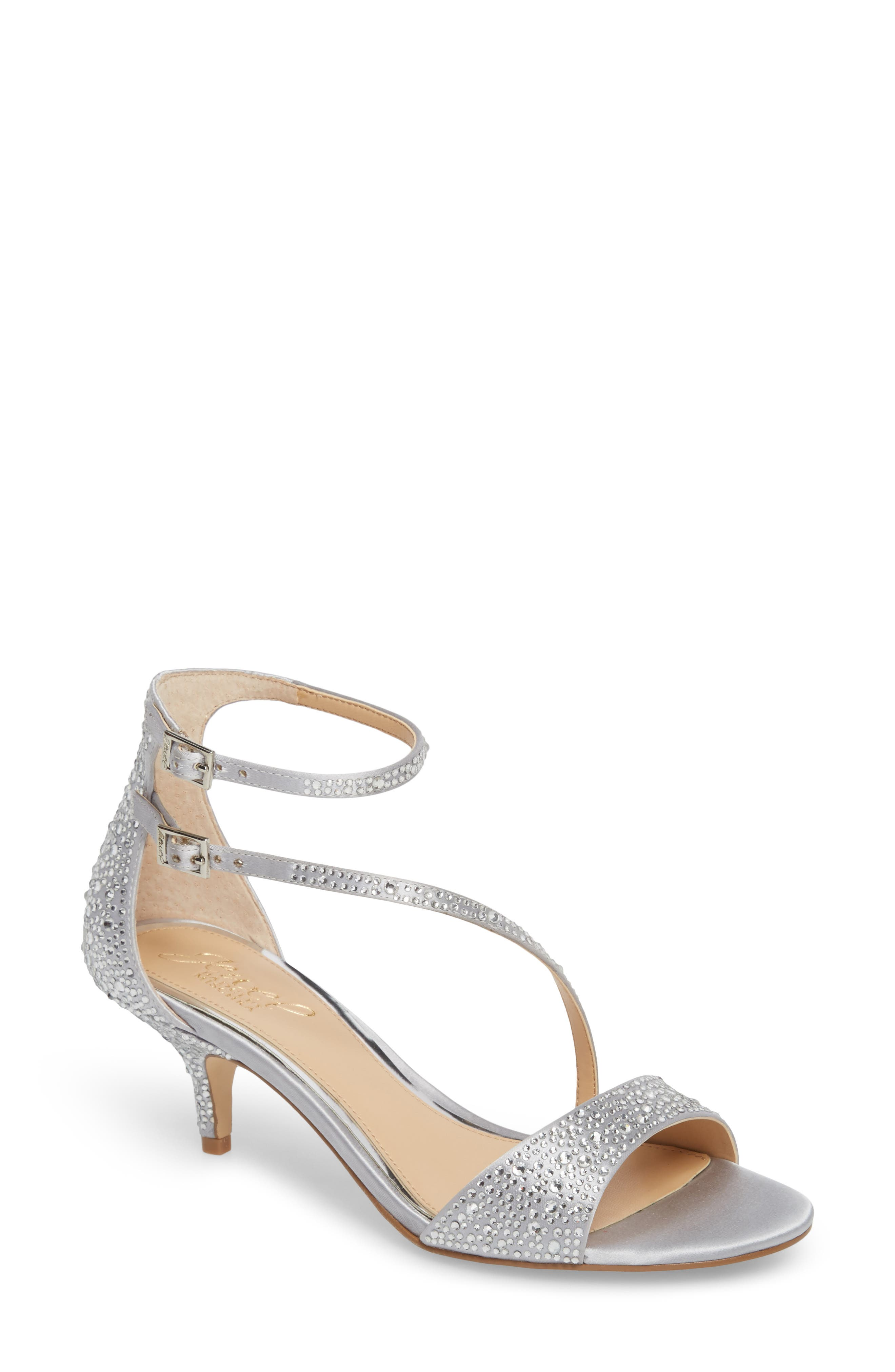 Tangerine Crystal Embellished Sandal,                             Main thumbnail 1, color,                             Silver Satin