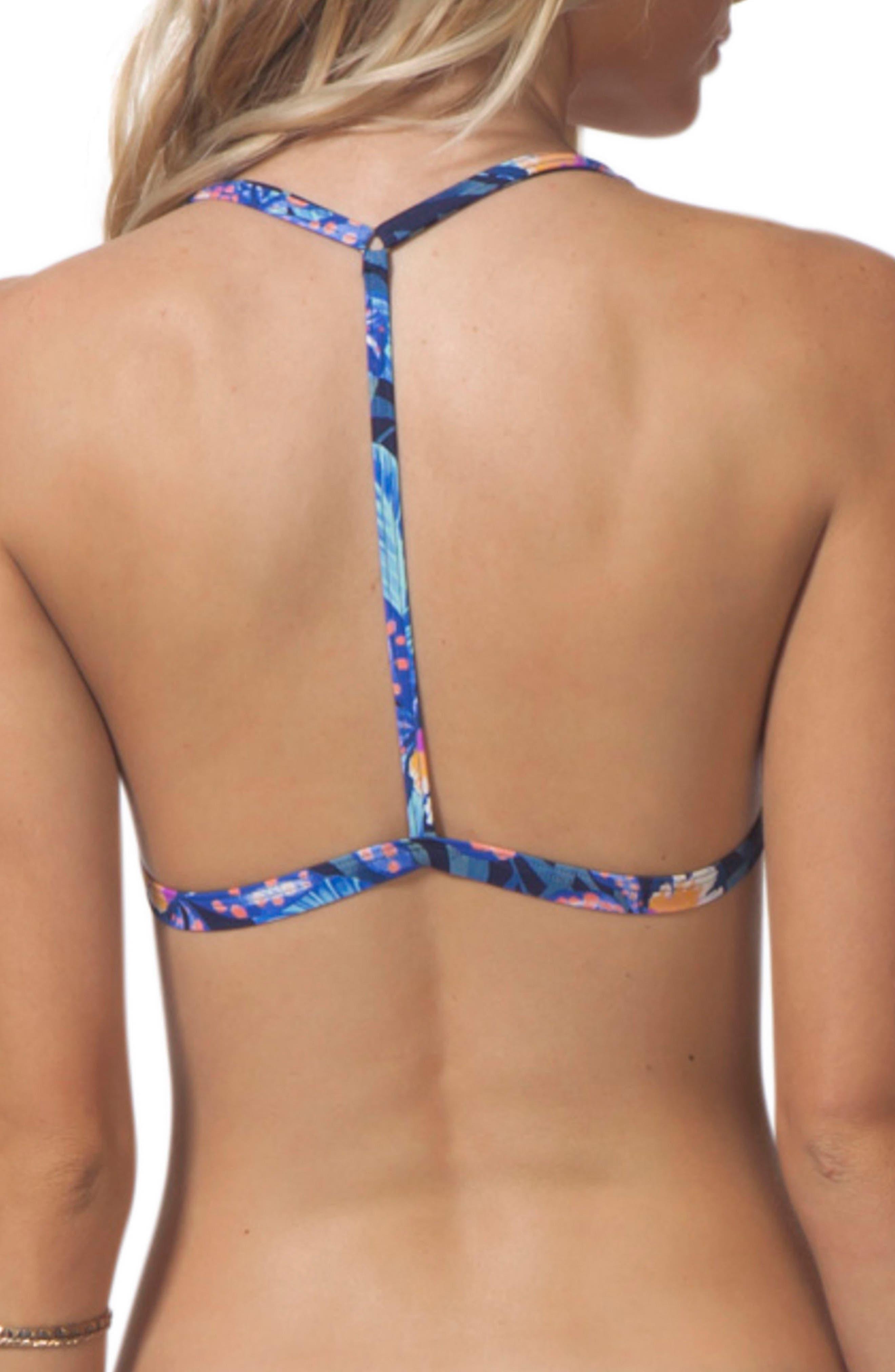 Tropic Tribe Triangle Bikini Top,                             Alternate thumbnail 2, color,                             Navy
