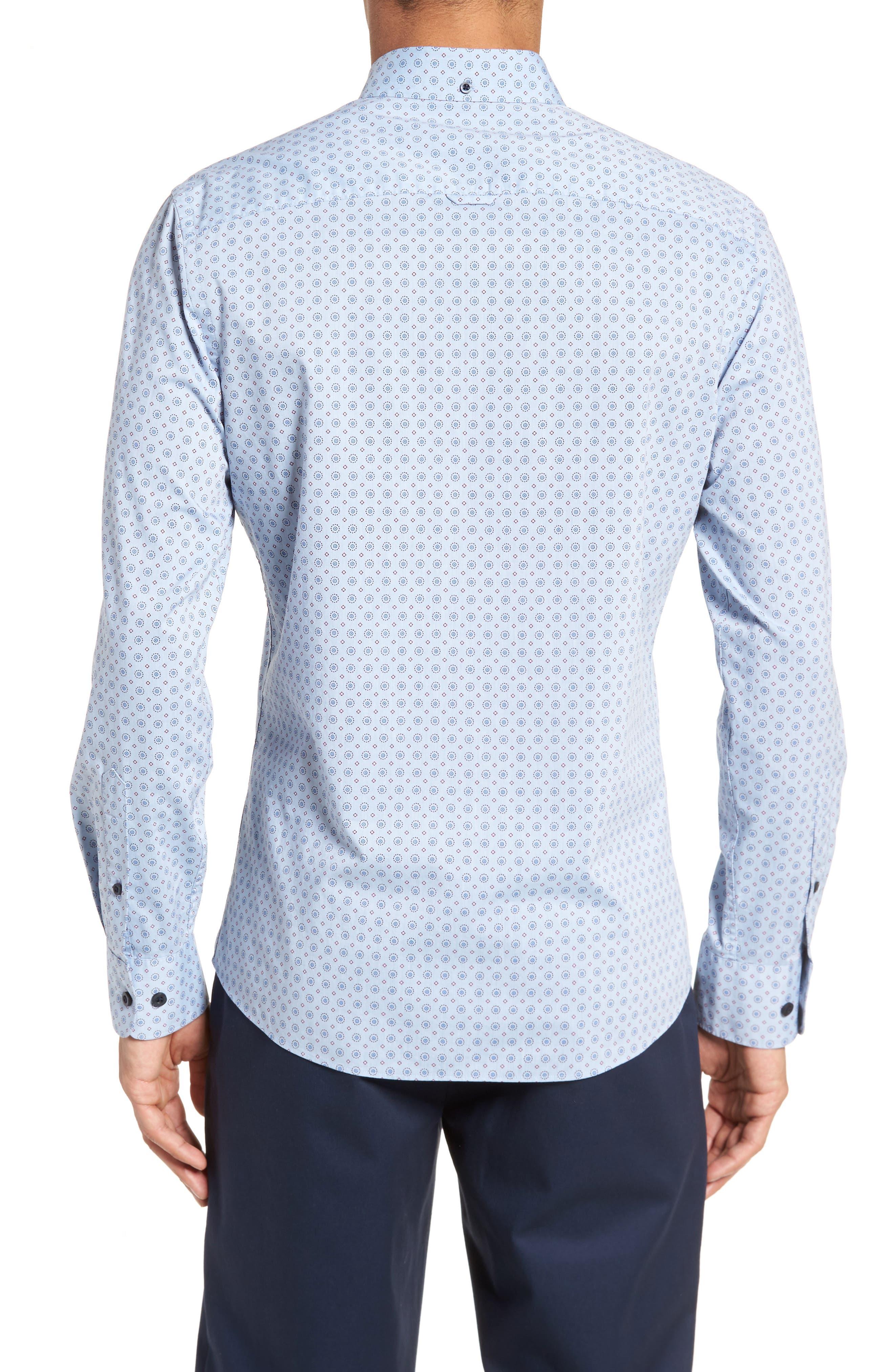 Trim Fit Print Sport Shirt,                             Alternate thumbnail 3, color,                             Blue Chambray Medallion