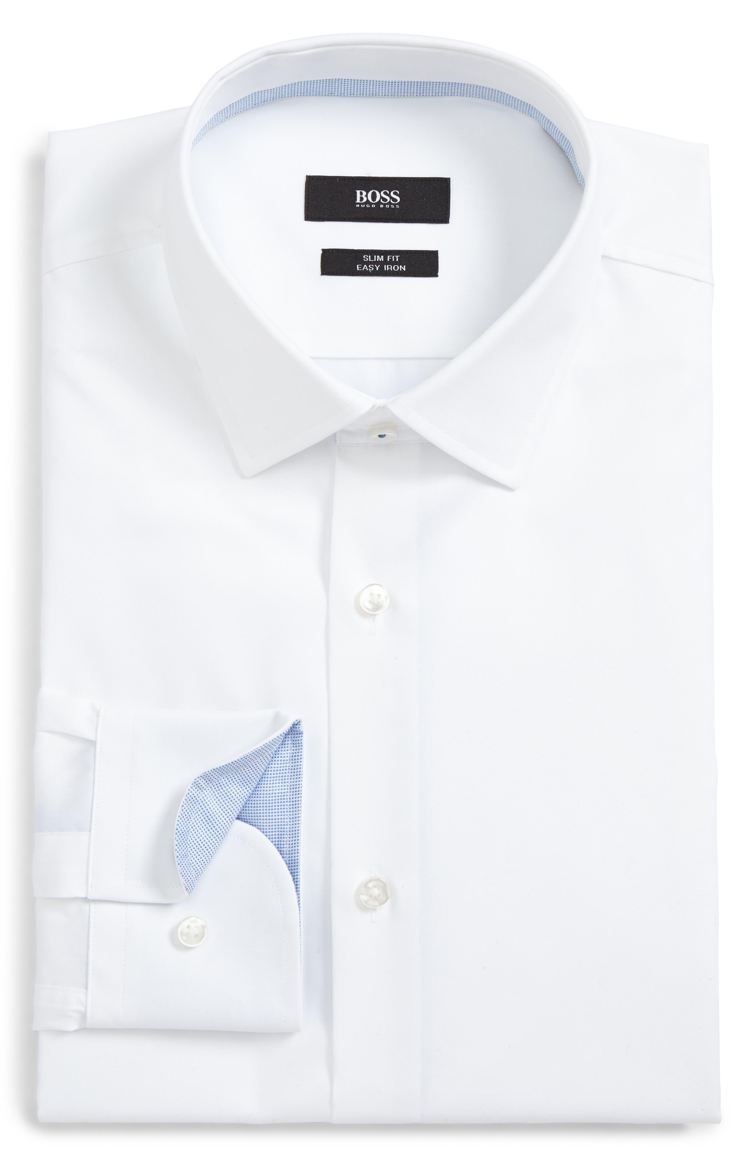 Jesse Slim Fit Easy Iron Dress Shirt,                             Alternate thumbnail 5, color,                             White
