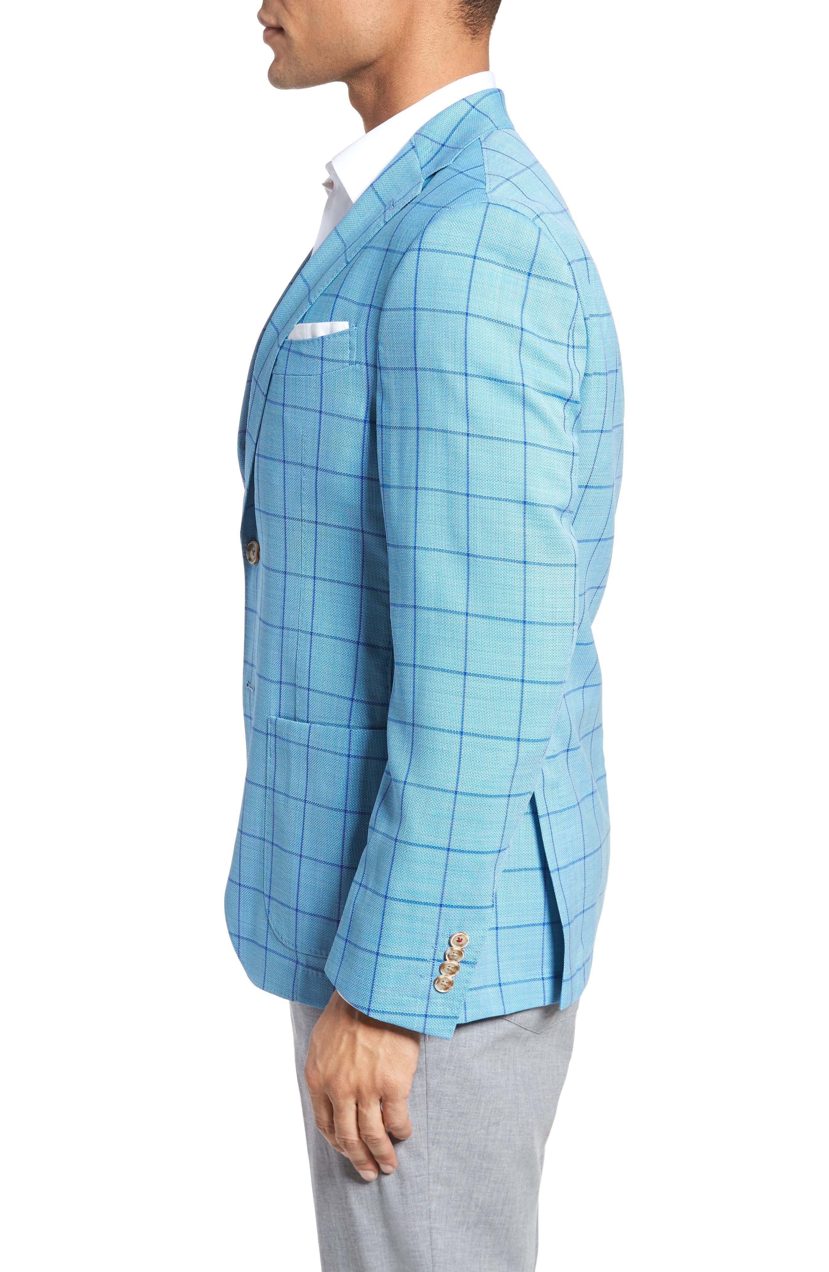 Trent Trim Fit Windowpane Wool Sport Coat,                             Alternate thumbnail 3, color,                             Blue