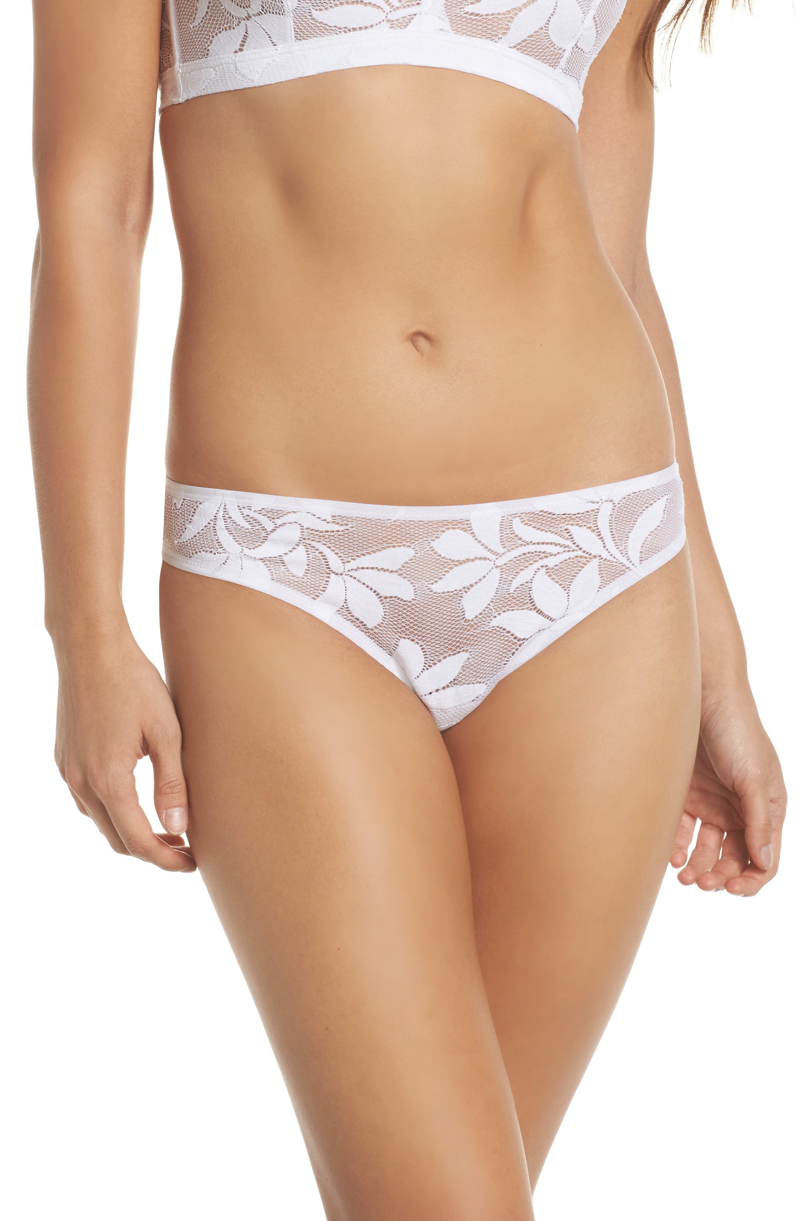 Dentelle Tulipes Thong,                         Main,                         color, Blanc