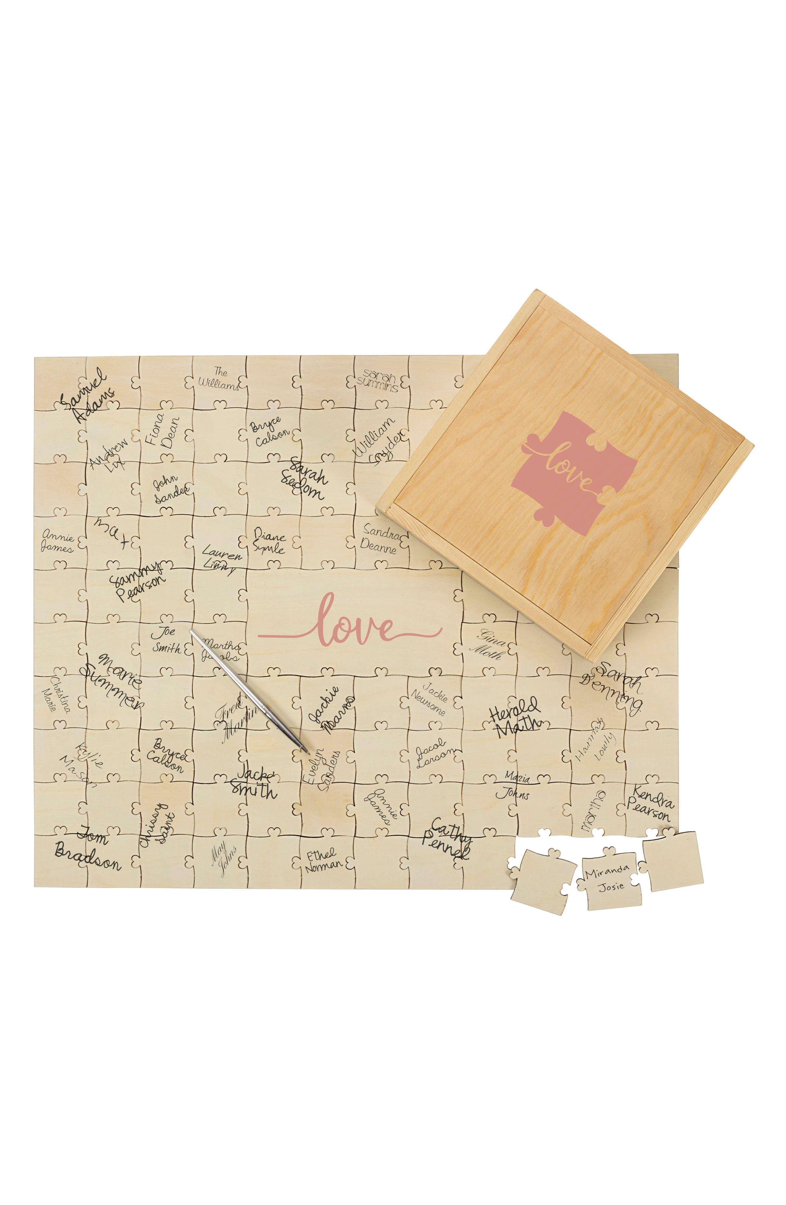 Love Guest Book Puzzle,                             Main thumbnail 1, color,                             Brown