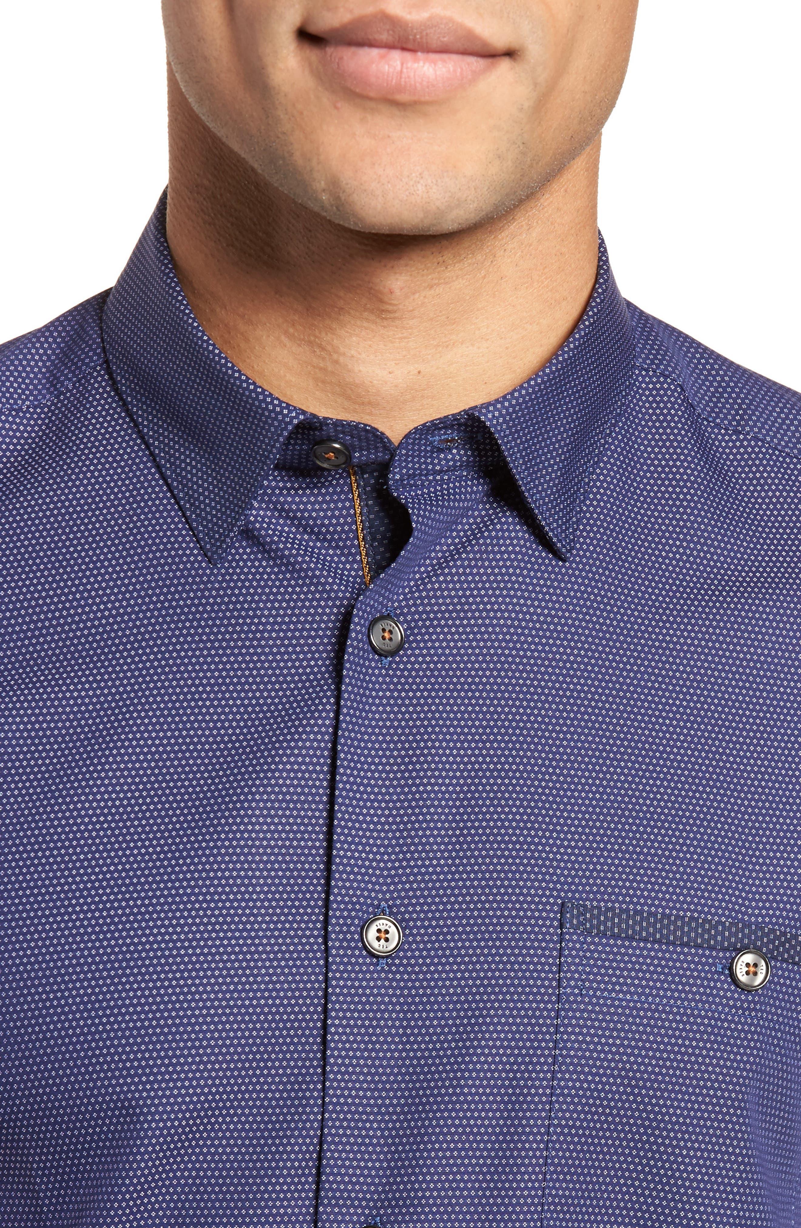 Dotdots Trim Fit Dot Short Sleeve Sport Shirt,                             Alternate thumbnail 2, color,                             Navy