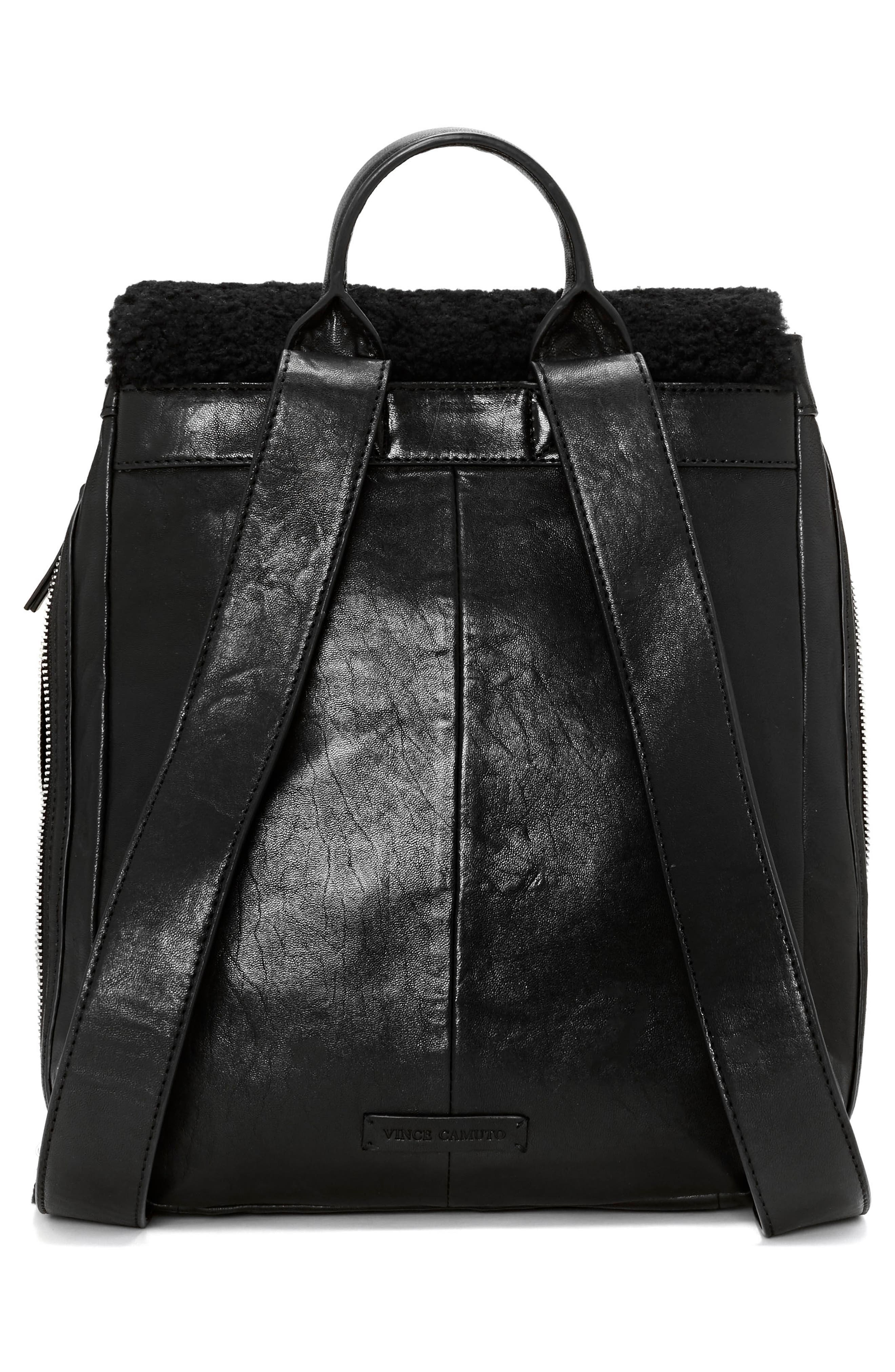 Delos Dome Leather & Genuine Shearling Backpack,                             Alternate thumbnail 4, color,                             Nero
