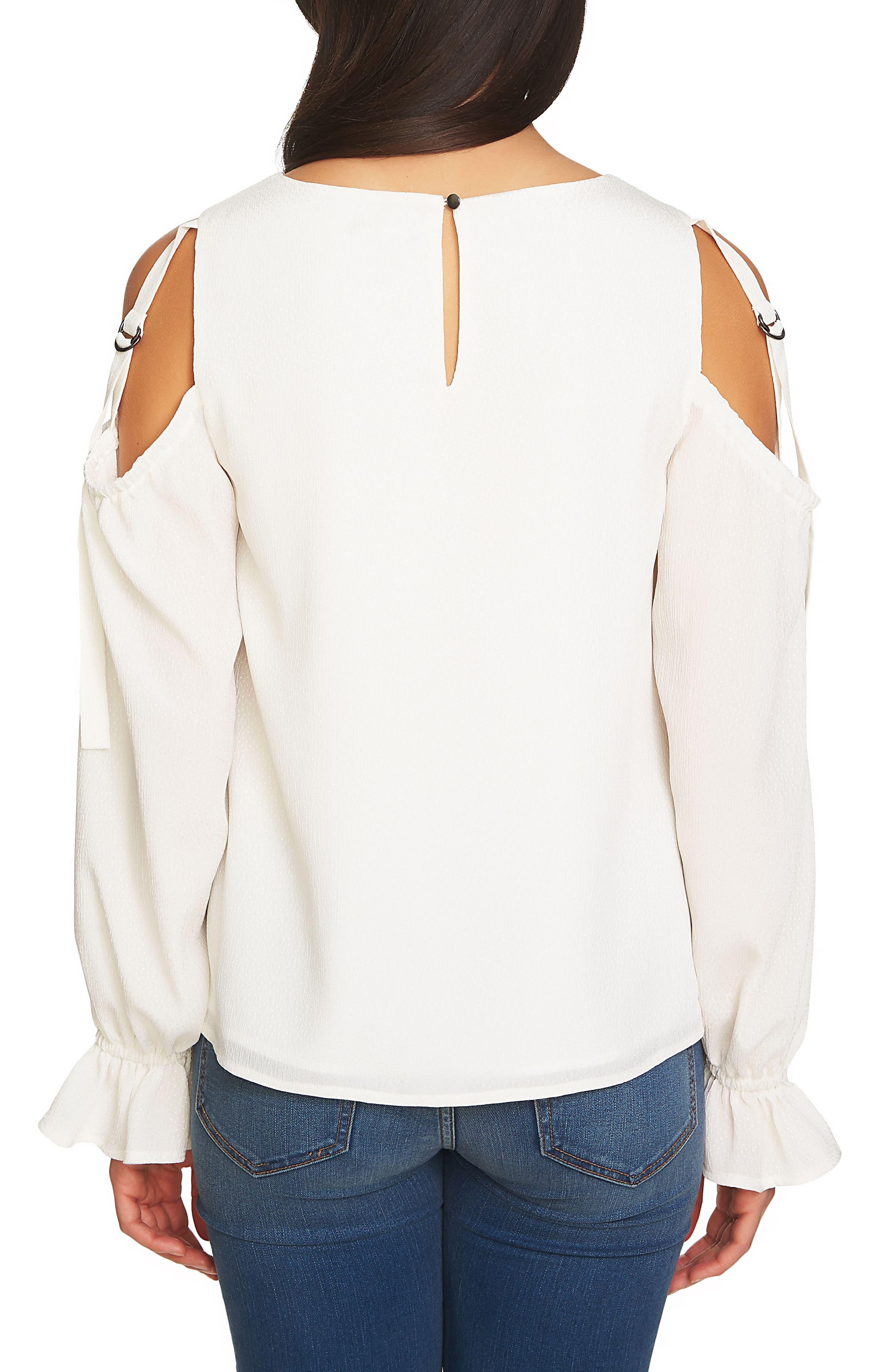 Blouson Sleeve Cold Shoulder Top,                             Alternate thumbnail 2, color,                             New Ivory
