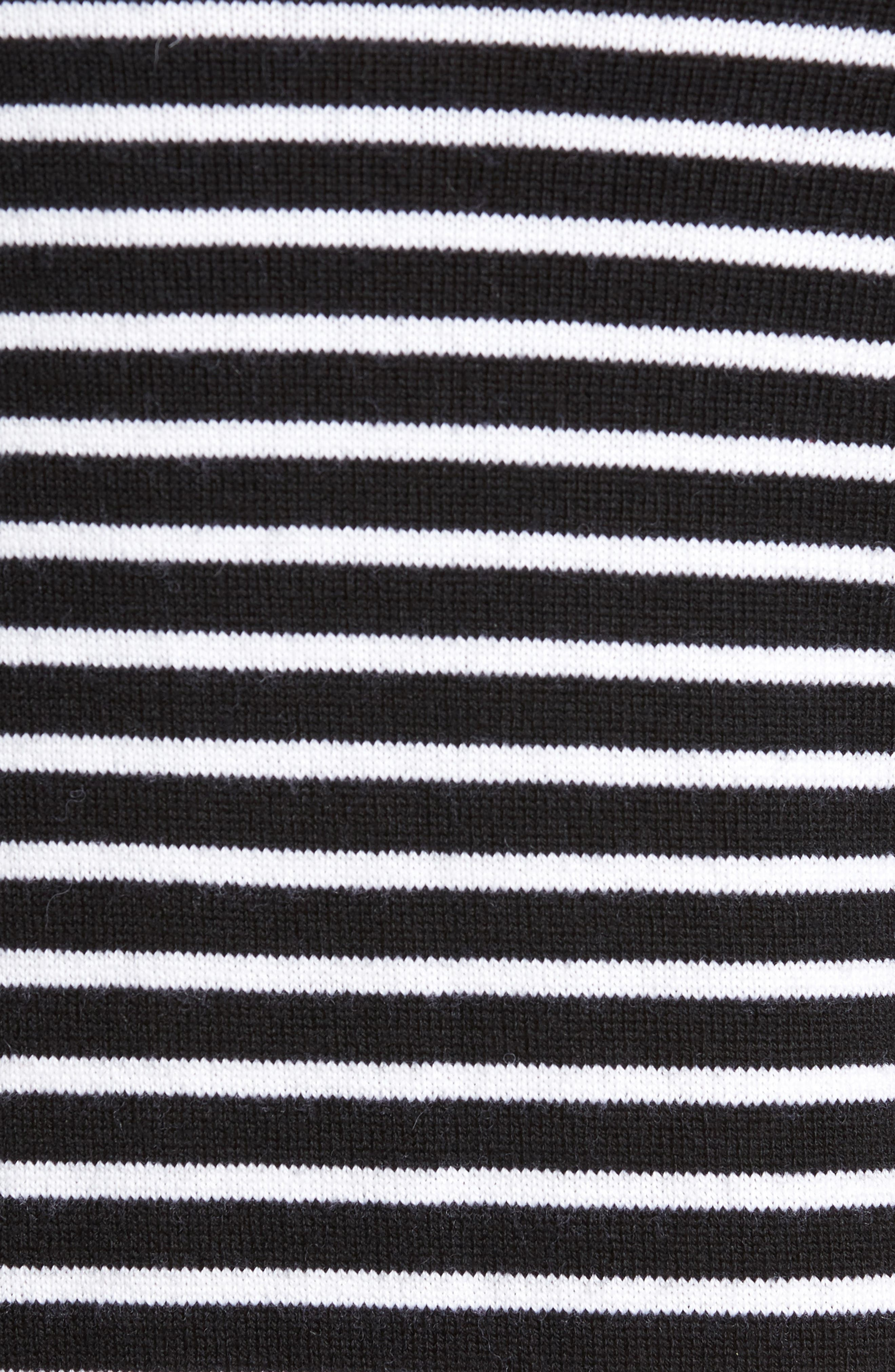 Regular Fit Striped Wool Sweater,                             Alternate thumbnail 5, color,                             Black/ Stormy White