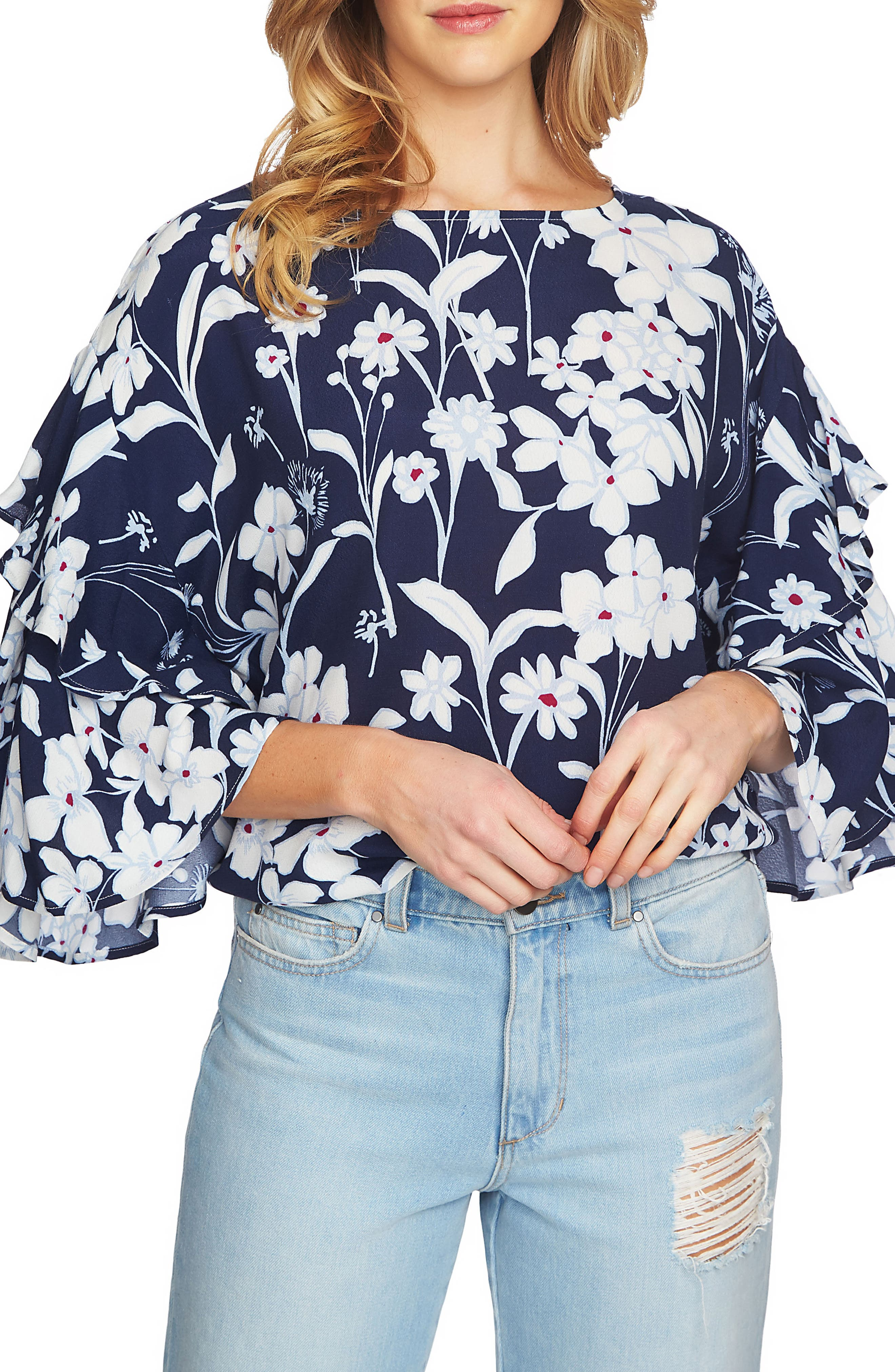 Flutter Sleeve Blouse,                         Main,                         color, Navy Yard