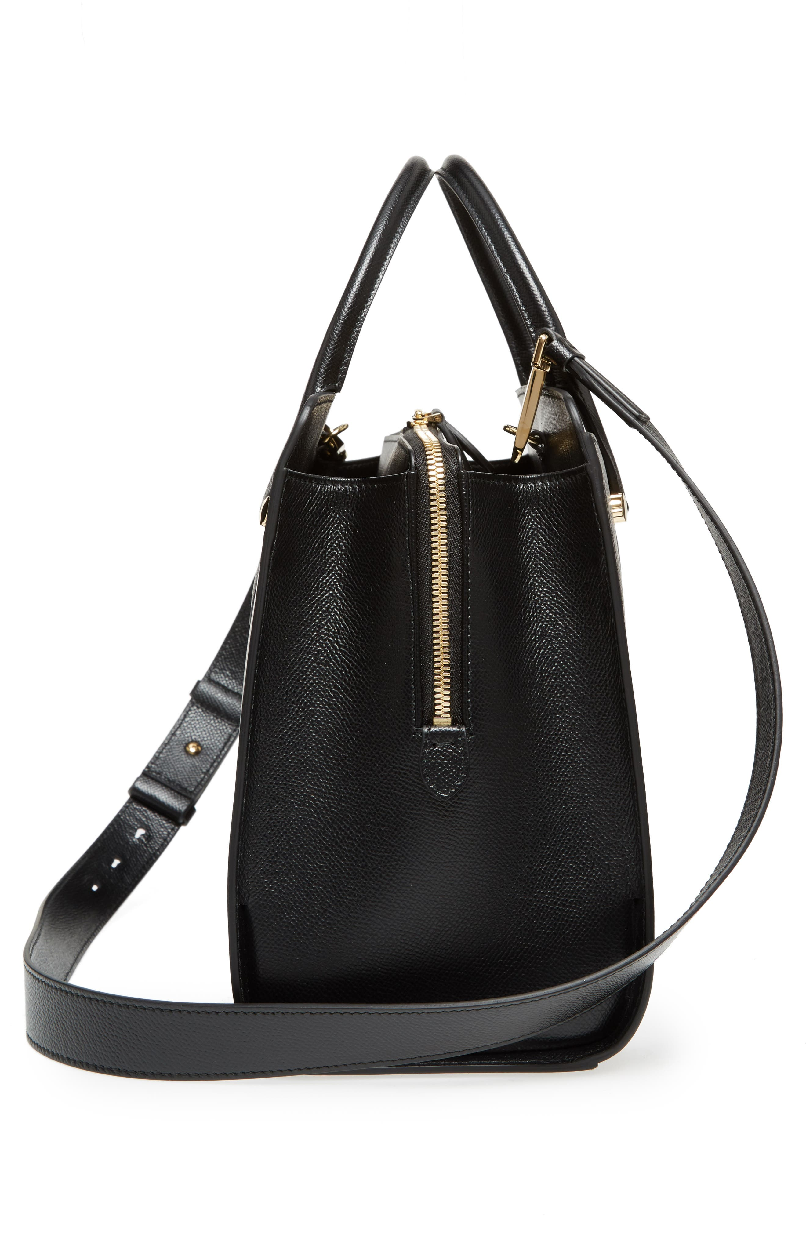 Small Today Leather Satchel,                             Alternate thumbnail 5, color,                             Nero