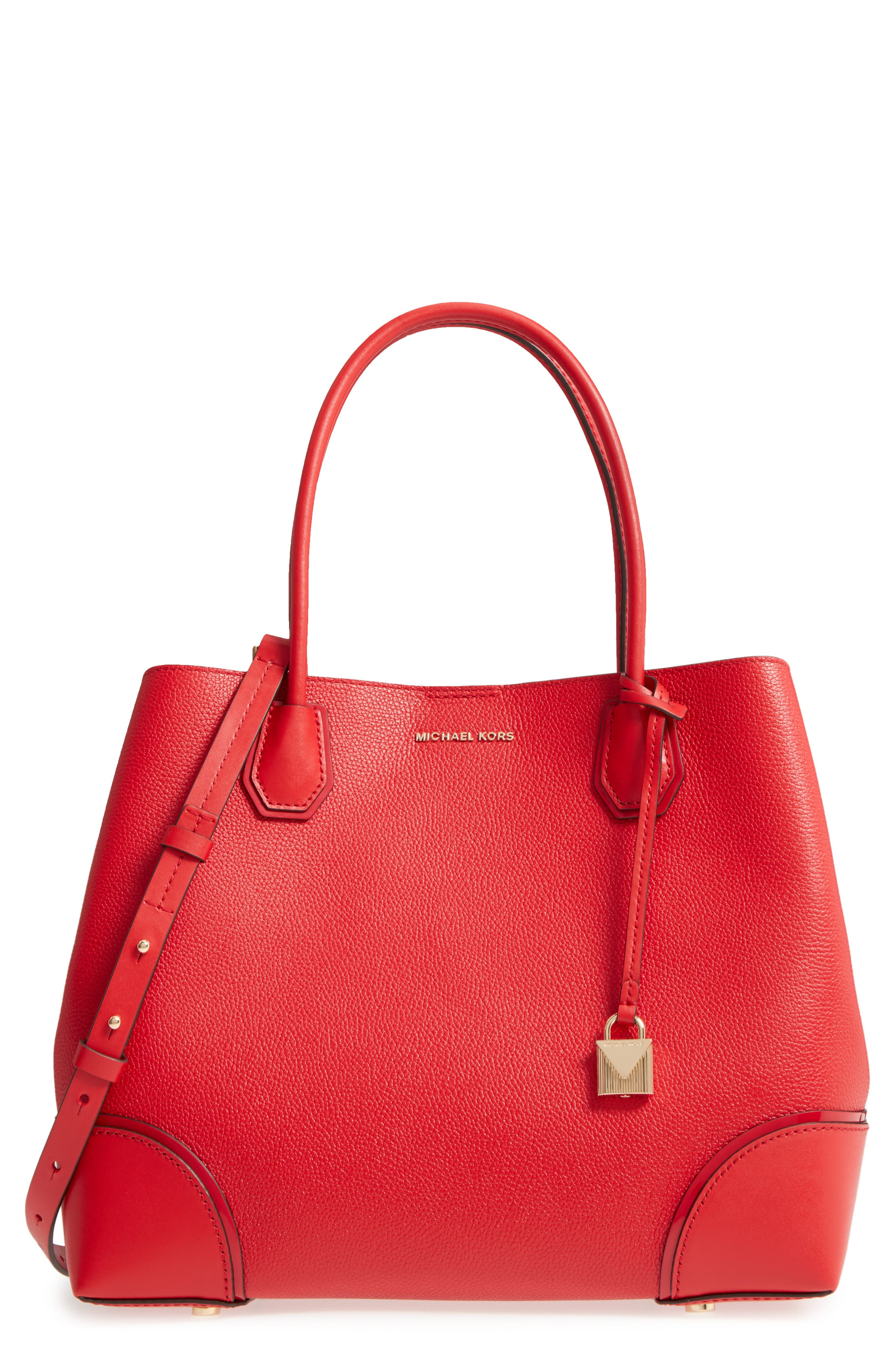 MICHAEL Michael Kors Large Mercer Leather Tote,                             Main thumbnail 1, color,                             Bright Red