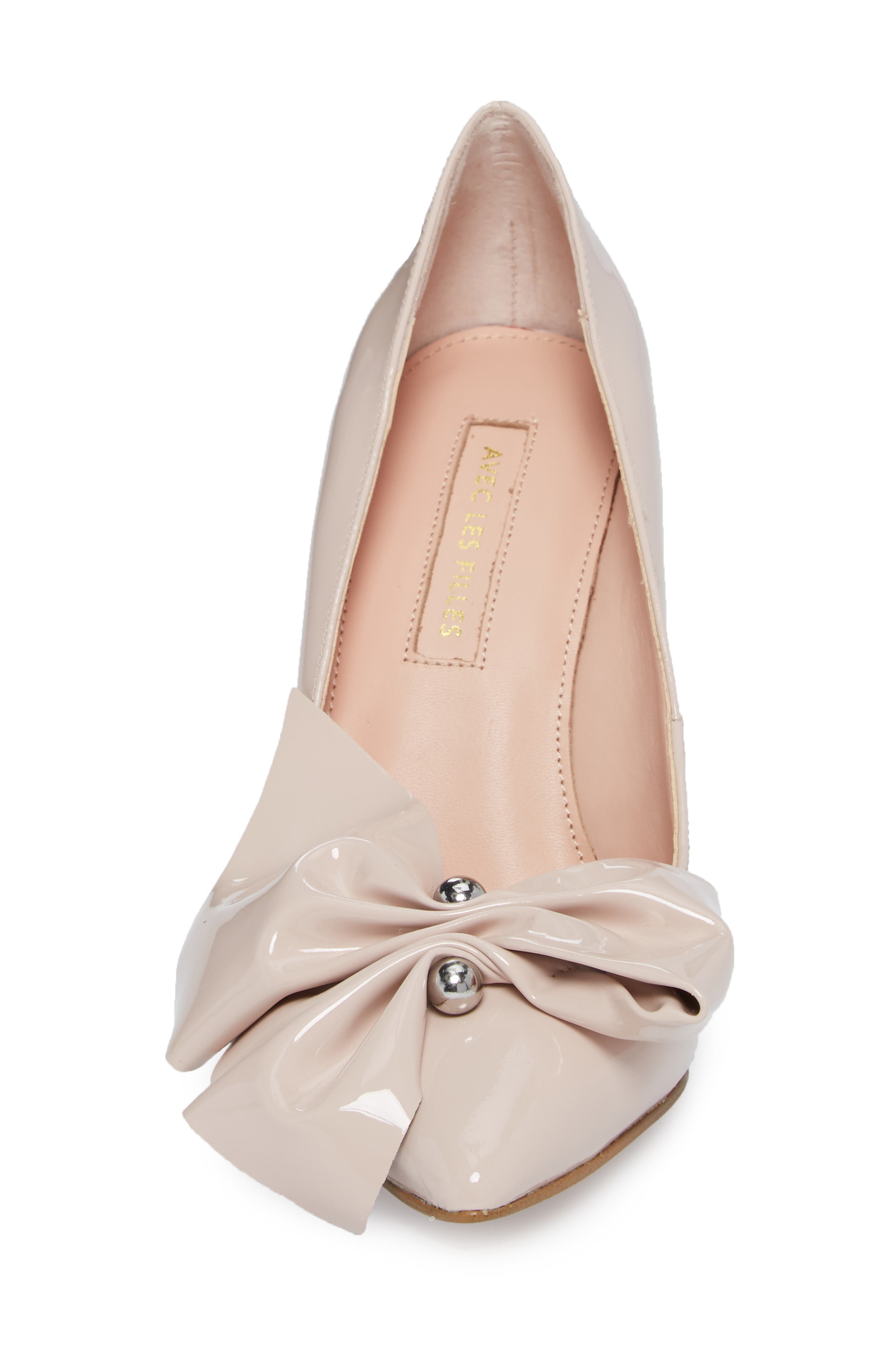 Bow Pointy Toe Pump,                             Alternate thumbnail 4, color,                             Avec Pink Leather