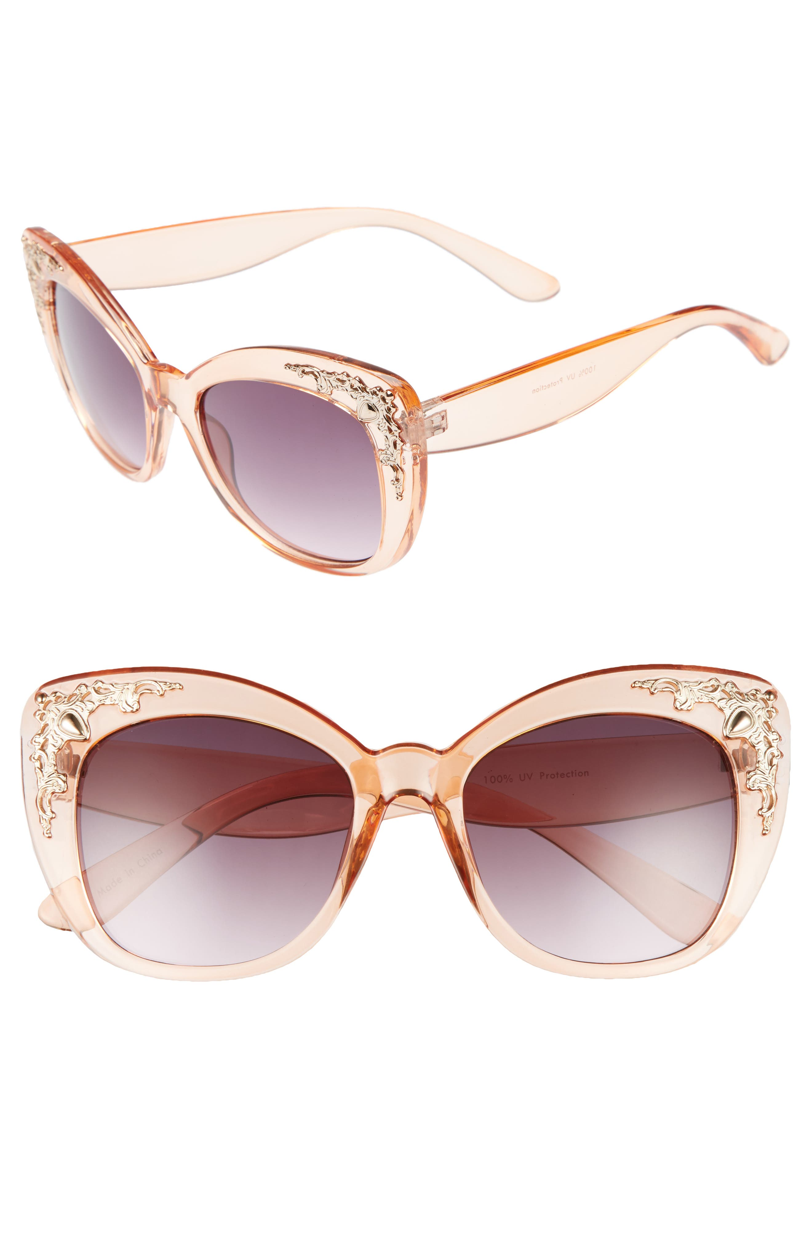 54mm Embellished Cat Eye Sunglasses,                             Main thumbnail 1, color,                             Gold