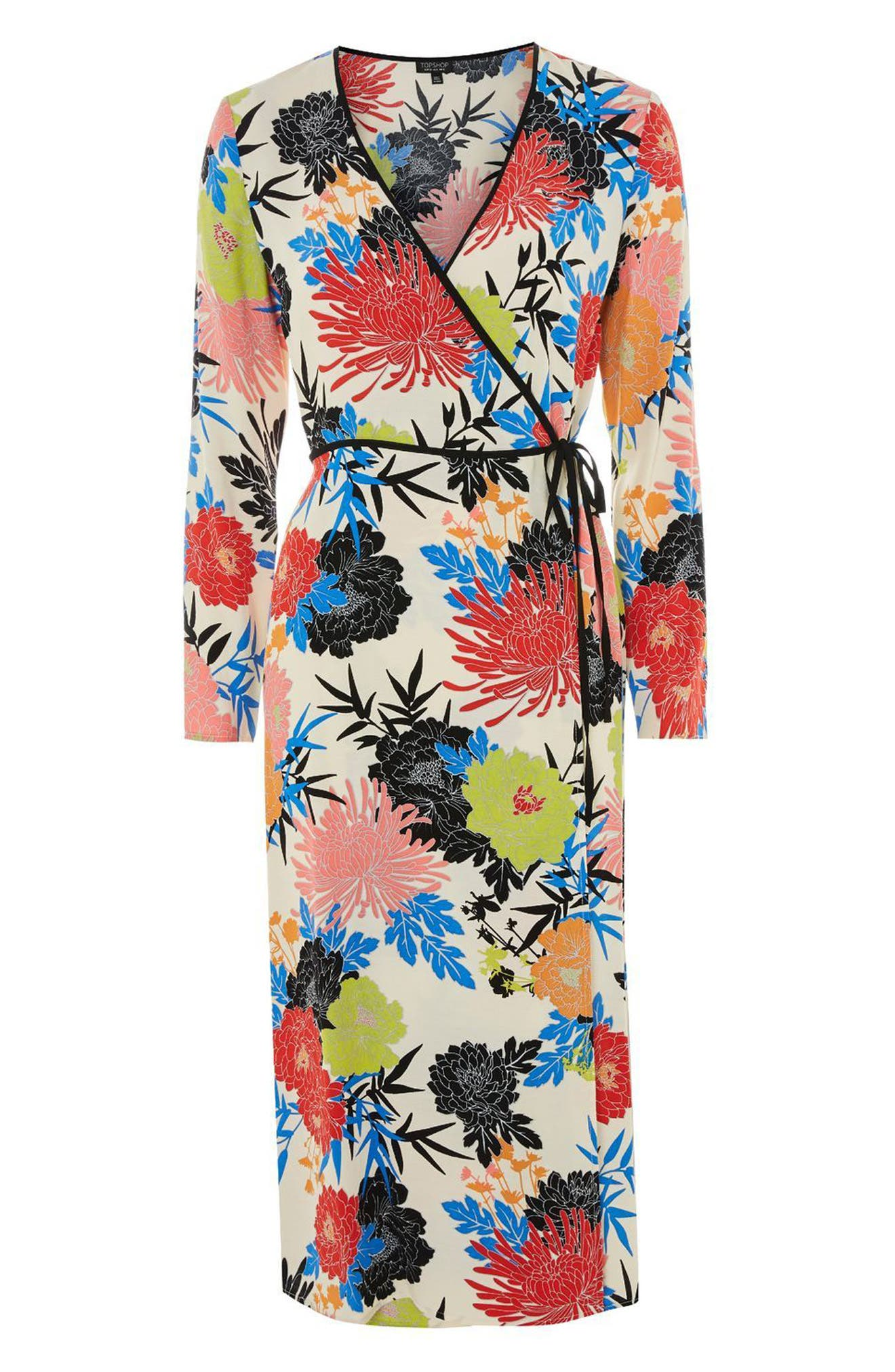 Freya Floral Wrap Dress,                             Alternate thumbnail 3, color,                             Ivory Multi