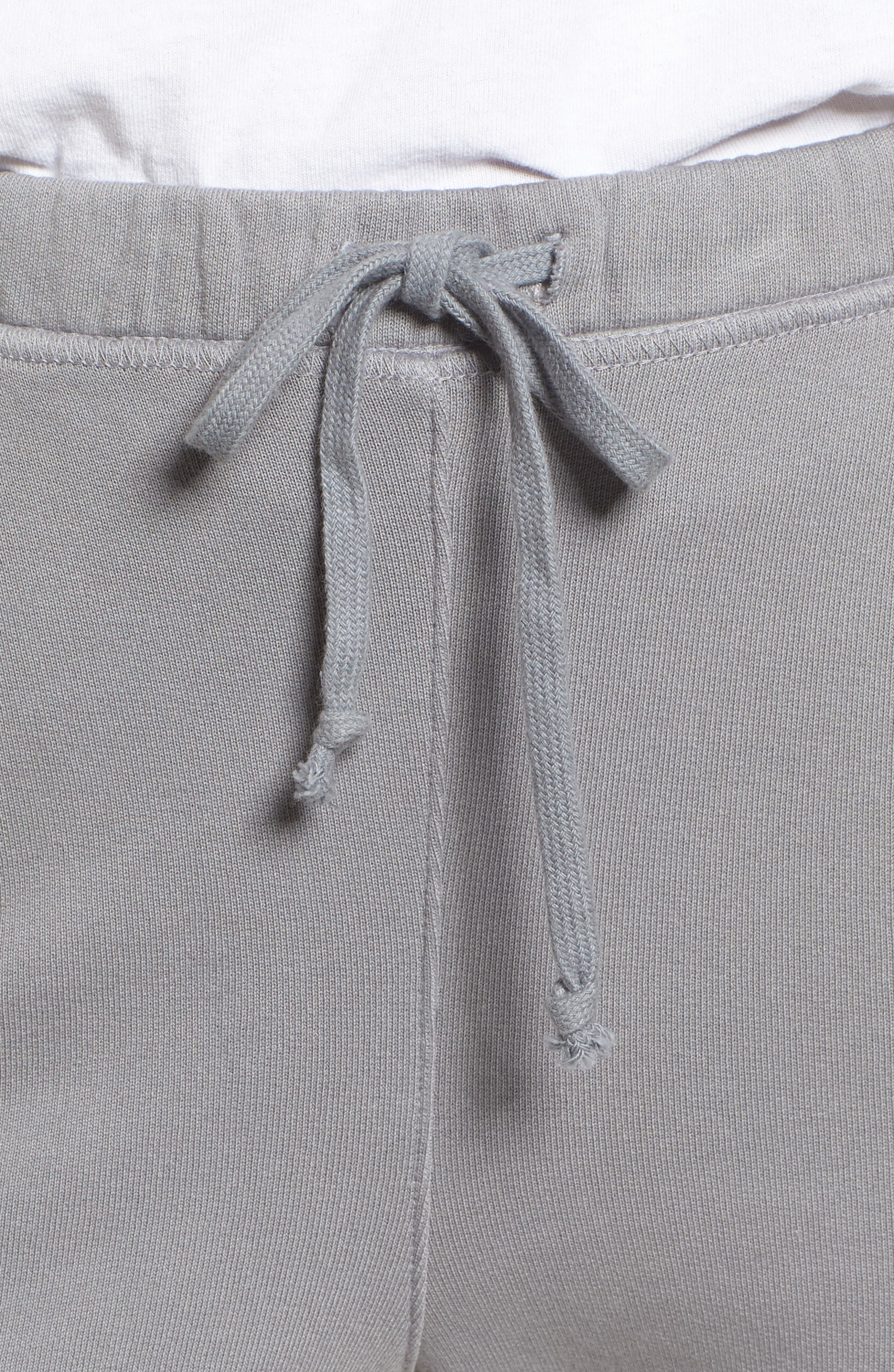 Tee Lab Raw Hem Crop Sweatpants,                             Alternate thumbnail 4, color,                             Shadow