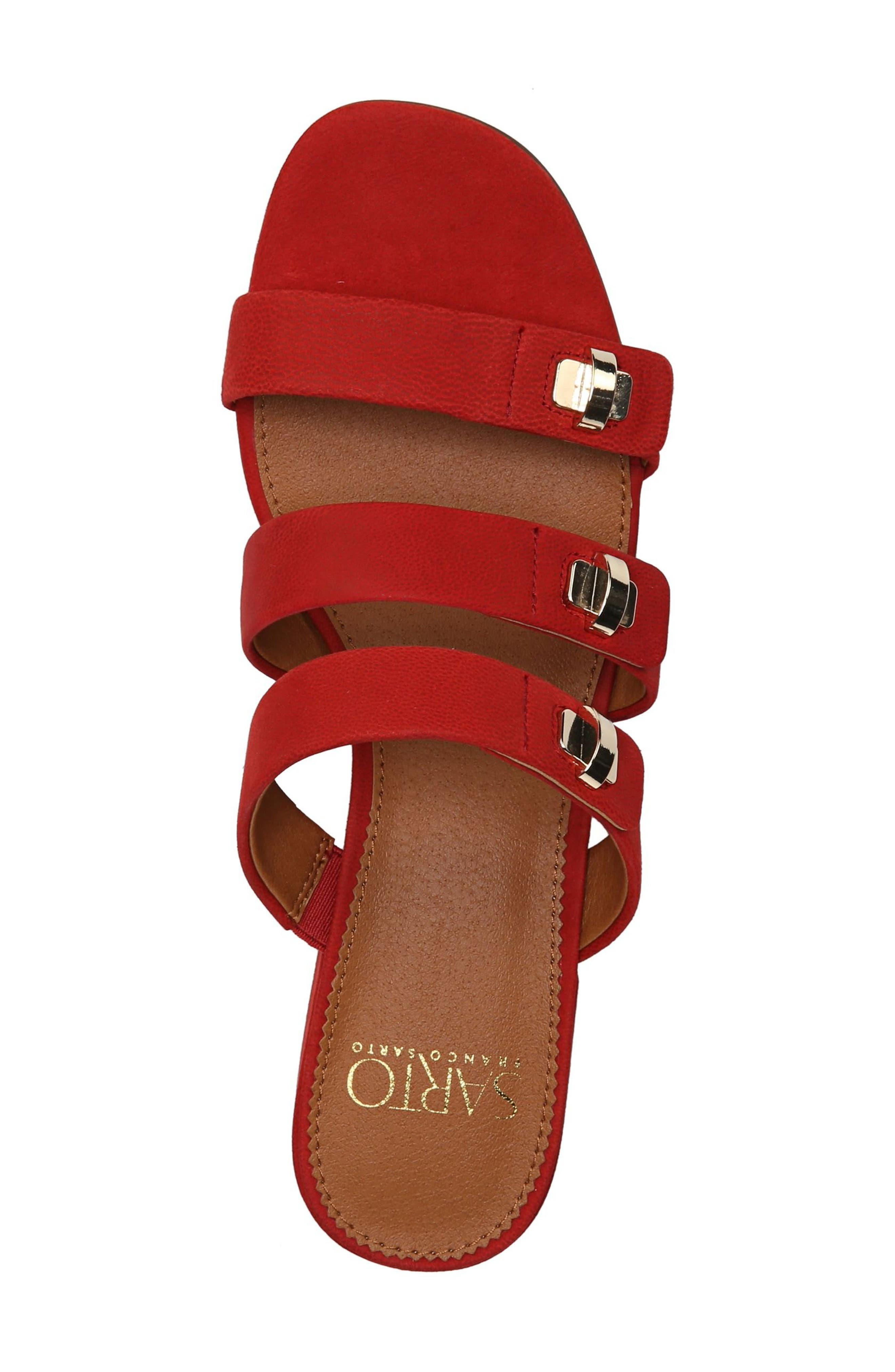 Arabesque Strappy Slide Sandal,                             Alternate thumbnail 5, color,                             Pop Red Nubuck
