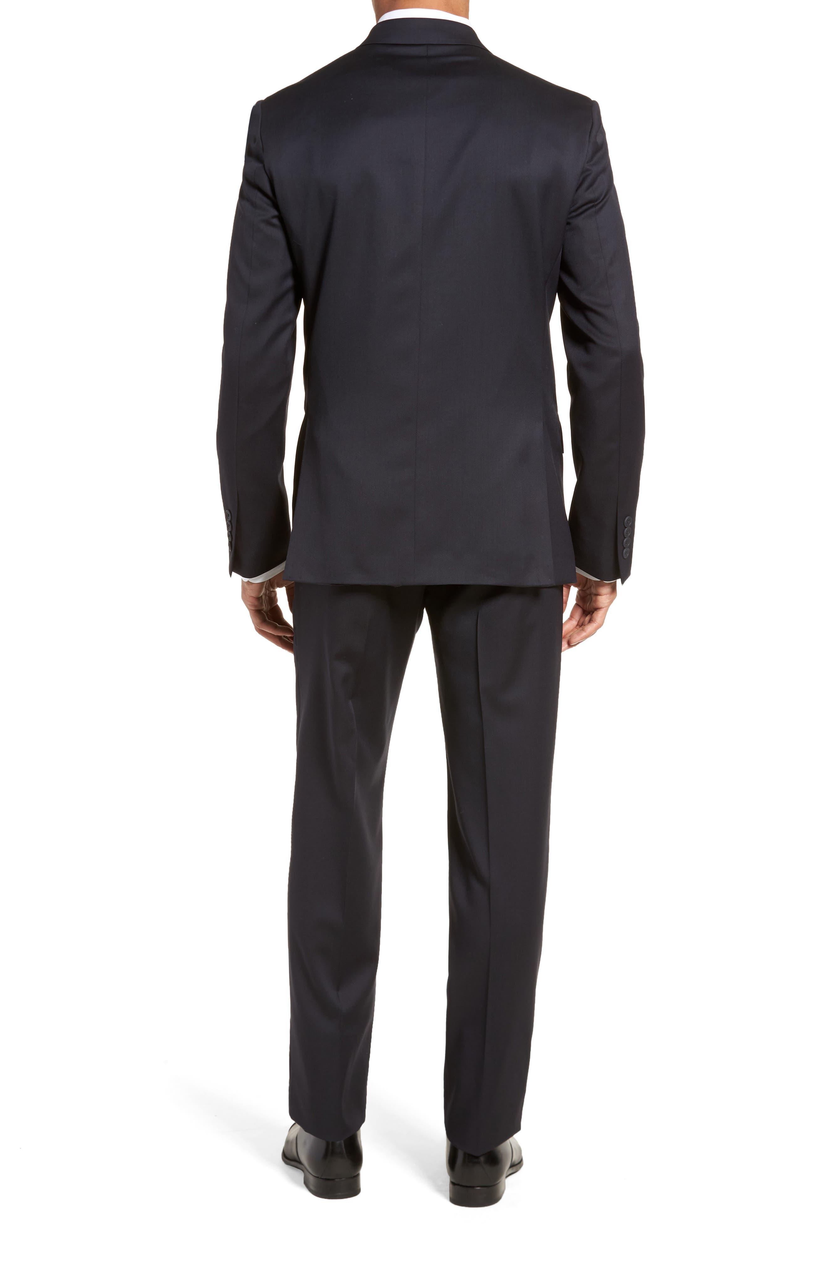 Trim Fit Solid Wool Suit,                             Alternate thumbnail 2, color,                             Navy