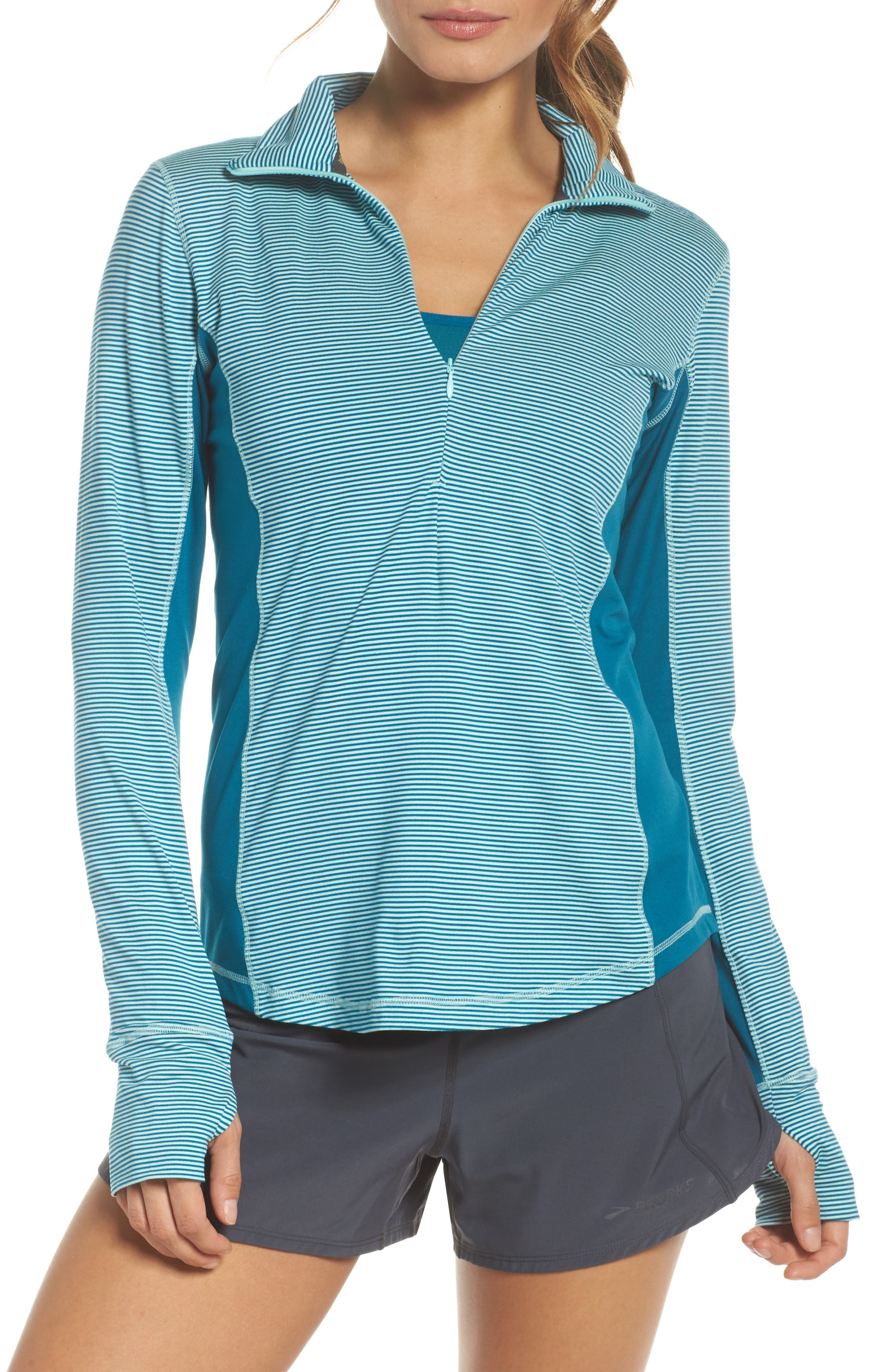 'Dash' Half Zip Jacket,                         Main,                         color, Pool/ Ocean Stripe/ Ocean