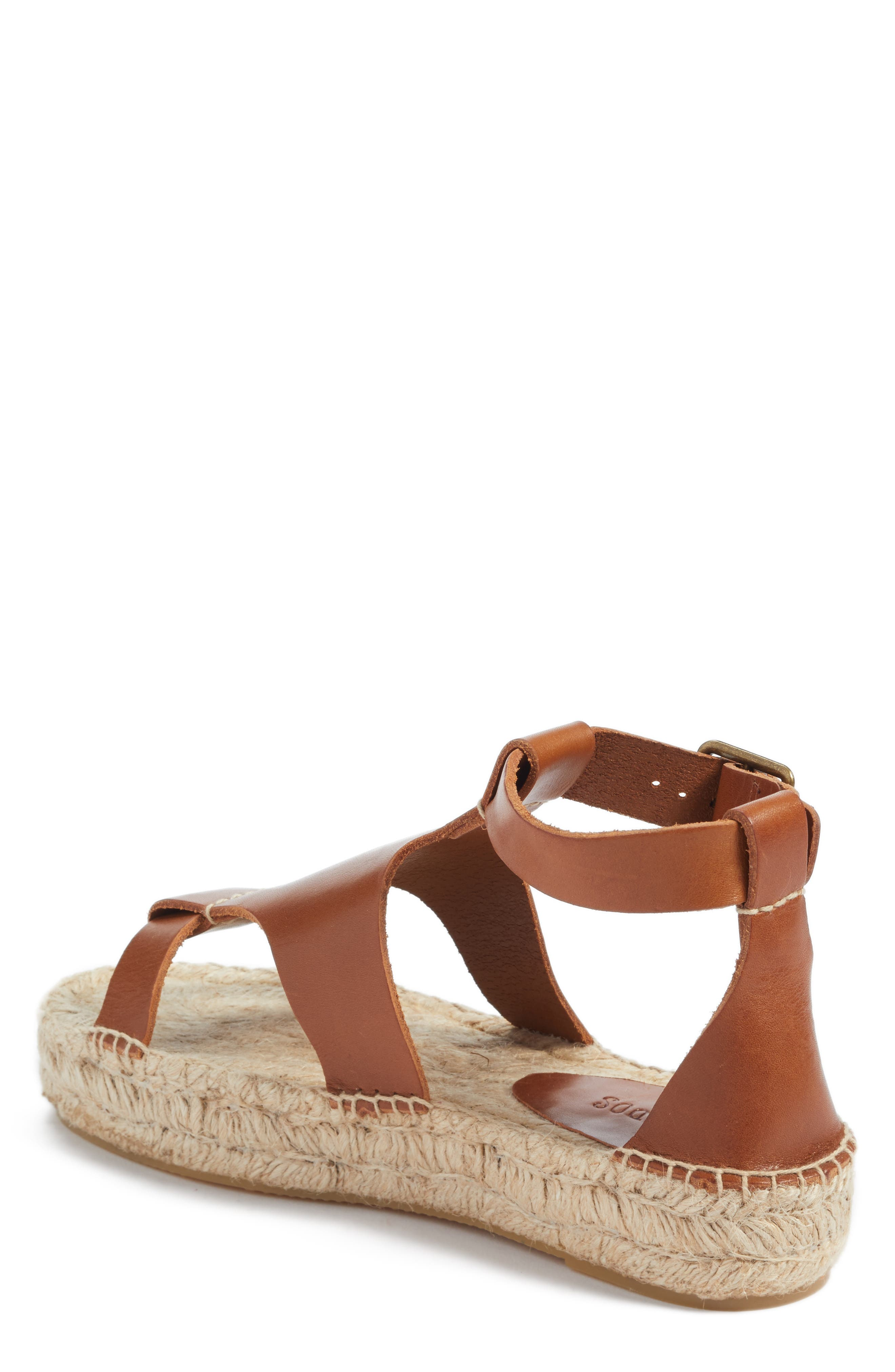 Strappy Espadrille Sandal,                             Alternate thumbnail 2, color,                             Walnut Leather