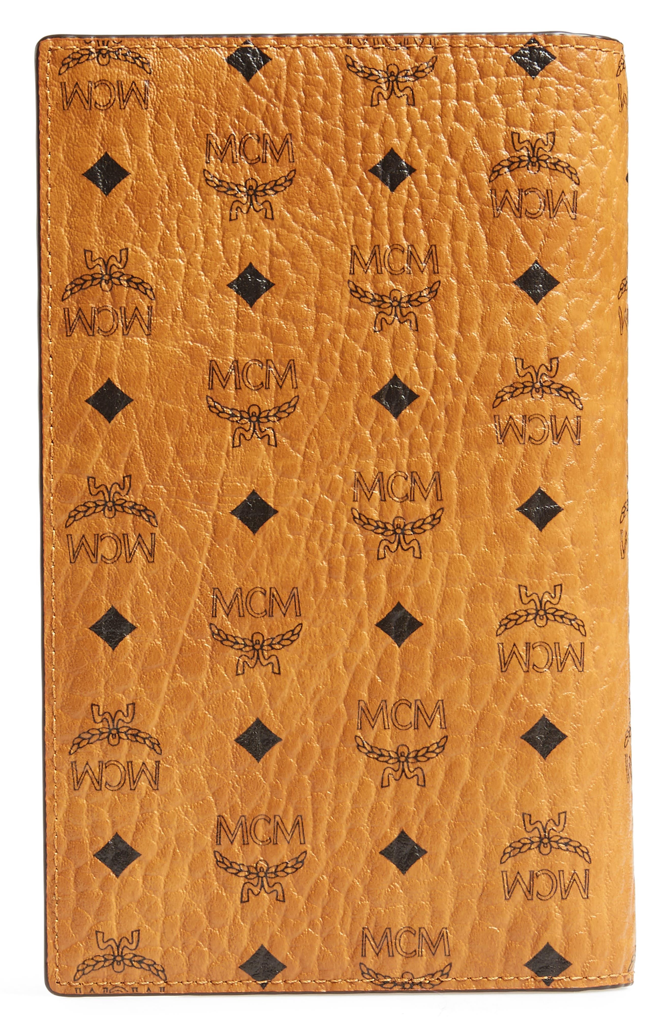 Visetos Coated Canvas Passport Case,                             Alternate thumbnail 3, color,                             Cognac