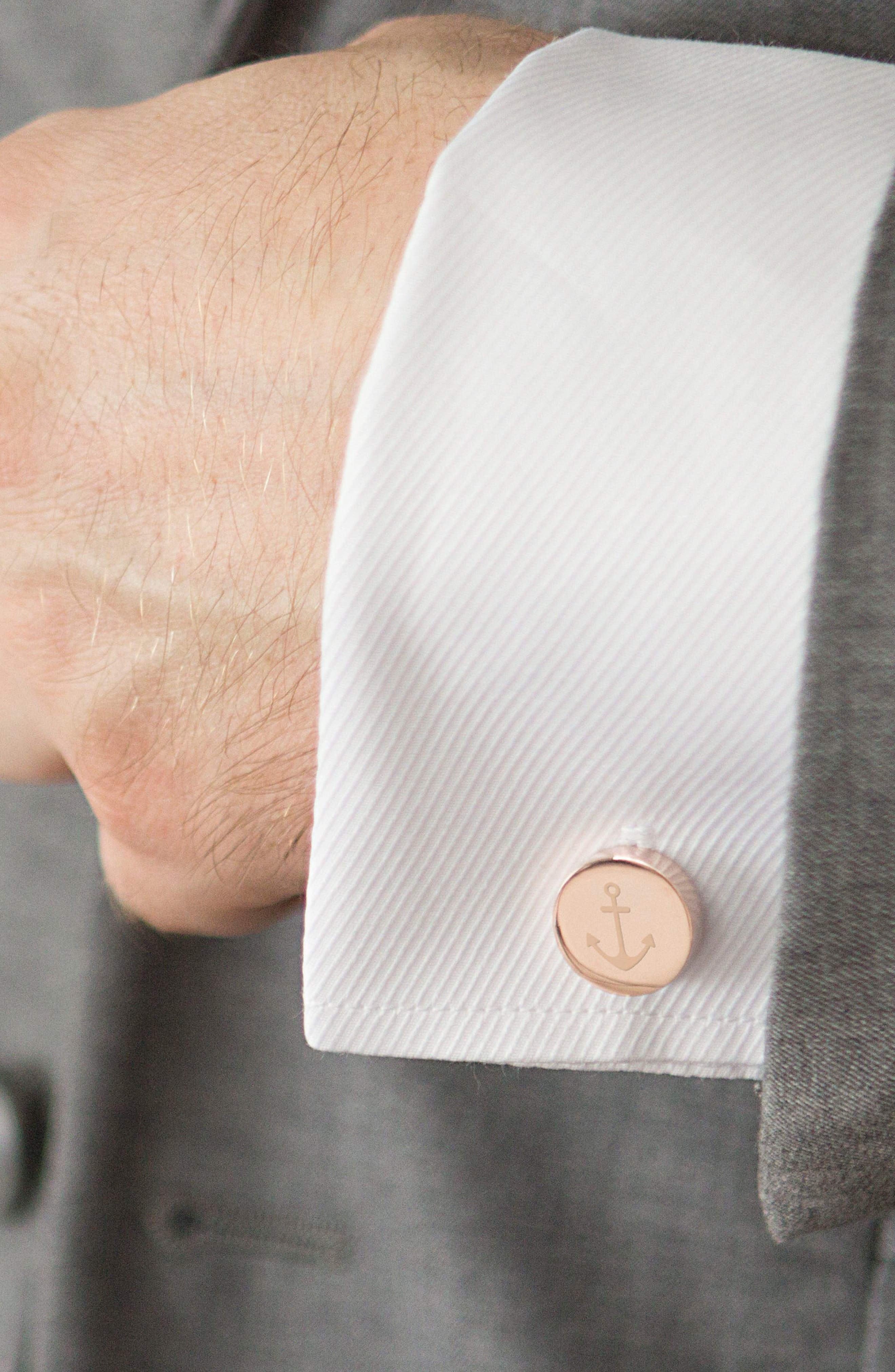 Anchor Cuff Links,                             Alternate thumbnail 4, color,                             Rose Gold