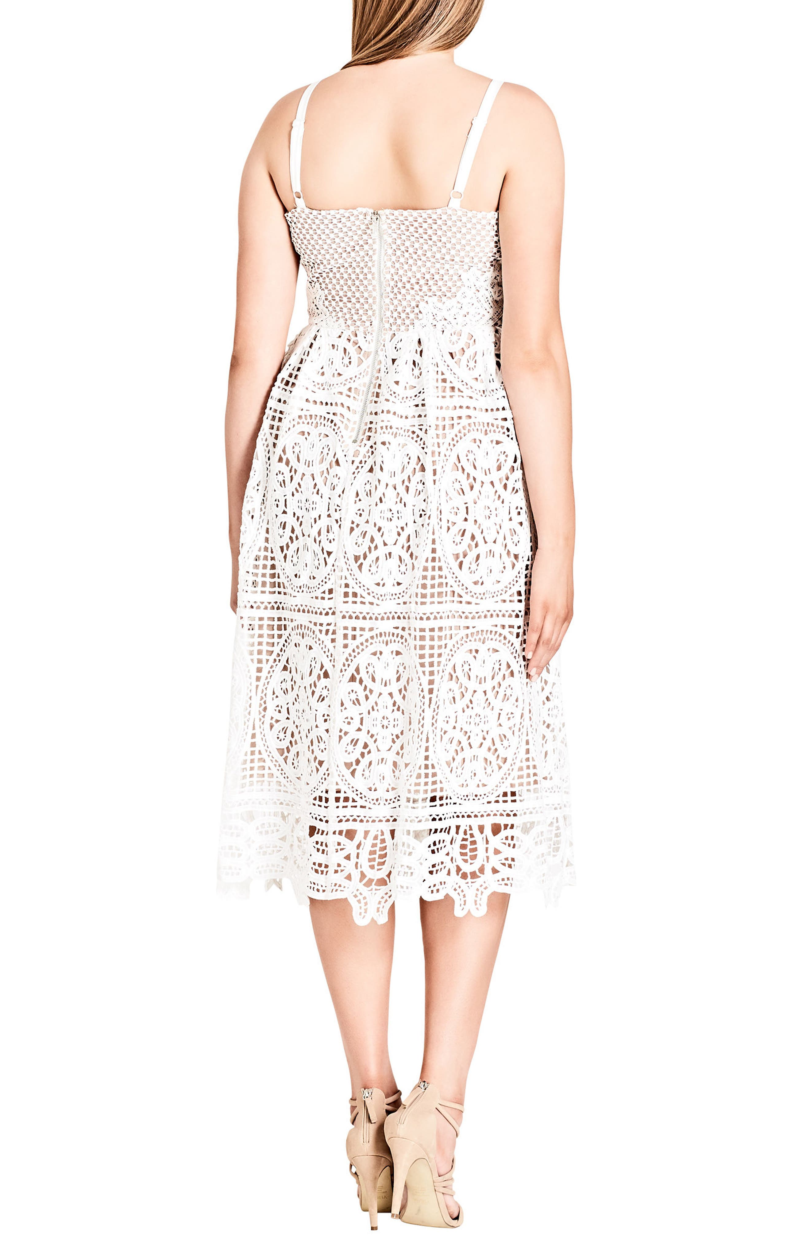 Fancy Free Lace Midi Dress,                             Alternate thumbnail 2, color,                             Ivory