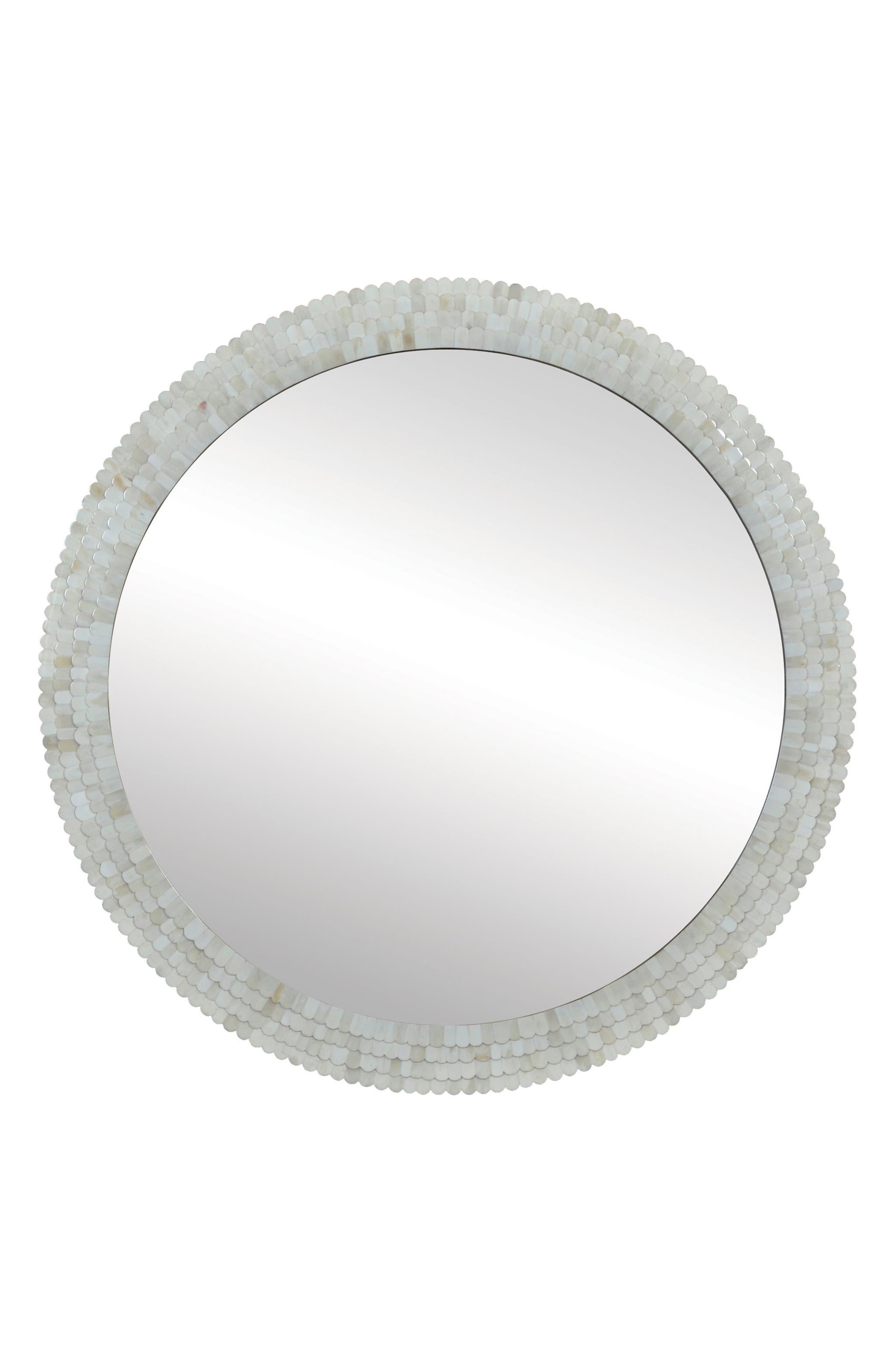 Round Mirror,                         Main,                         color, Cream Protrude