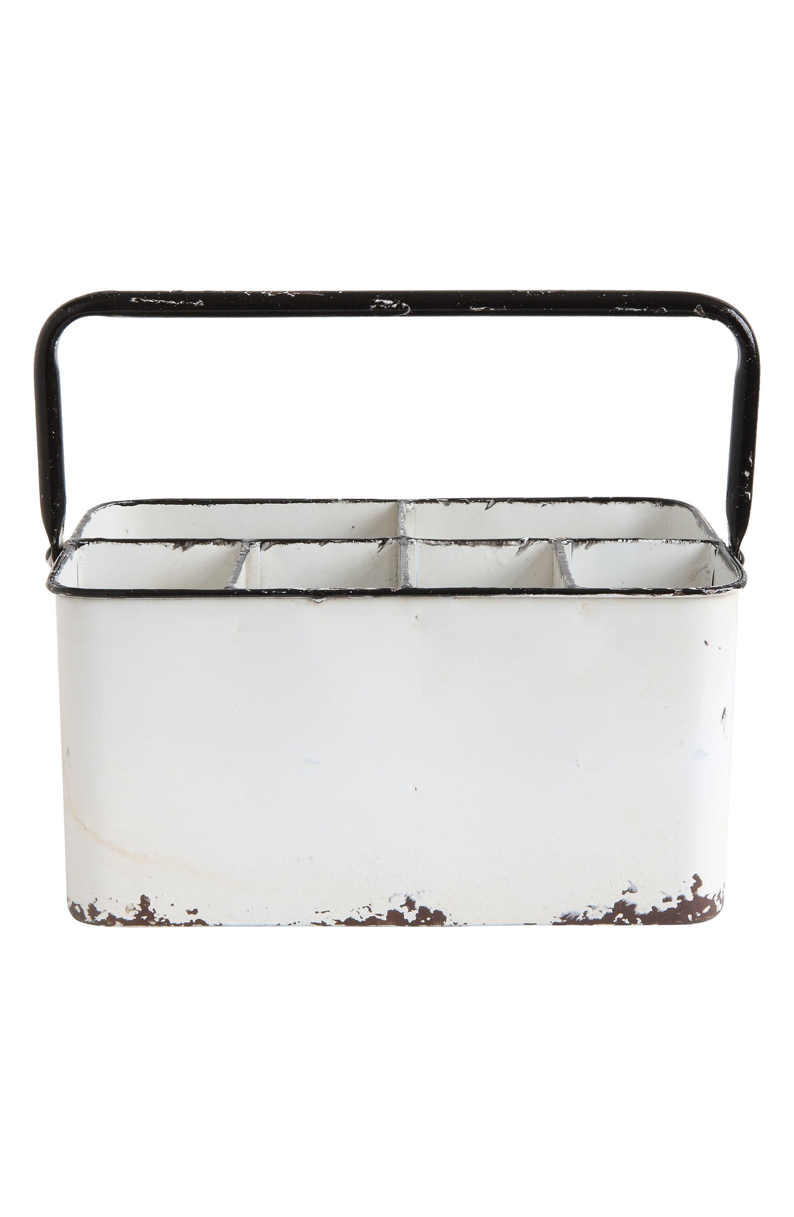 Metal Caddy,                             Main thumbnail 1, color,                             White